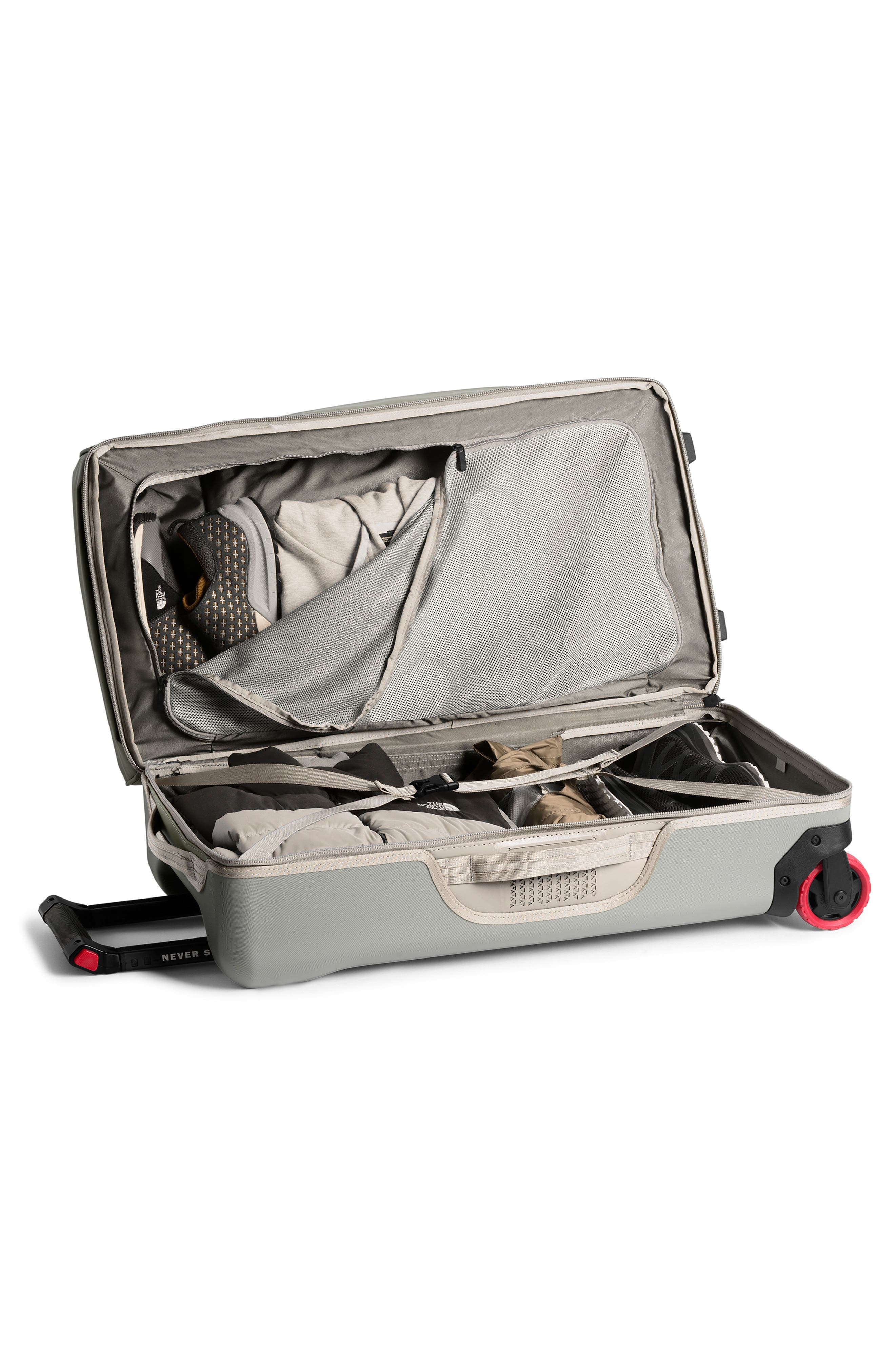THE NORTH FACE, Stratoliner Large Rolling Suitcase, Alternate thumbnail 3, color, SILT GREY/MOONSTRUCK GREY