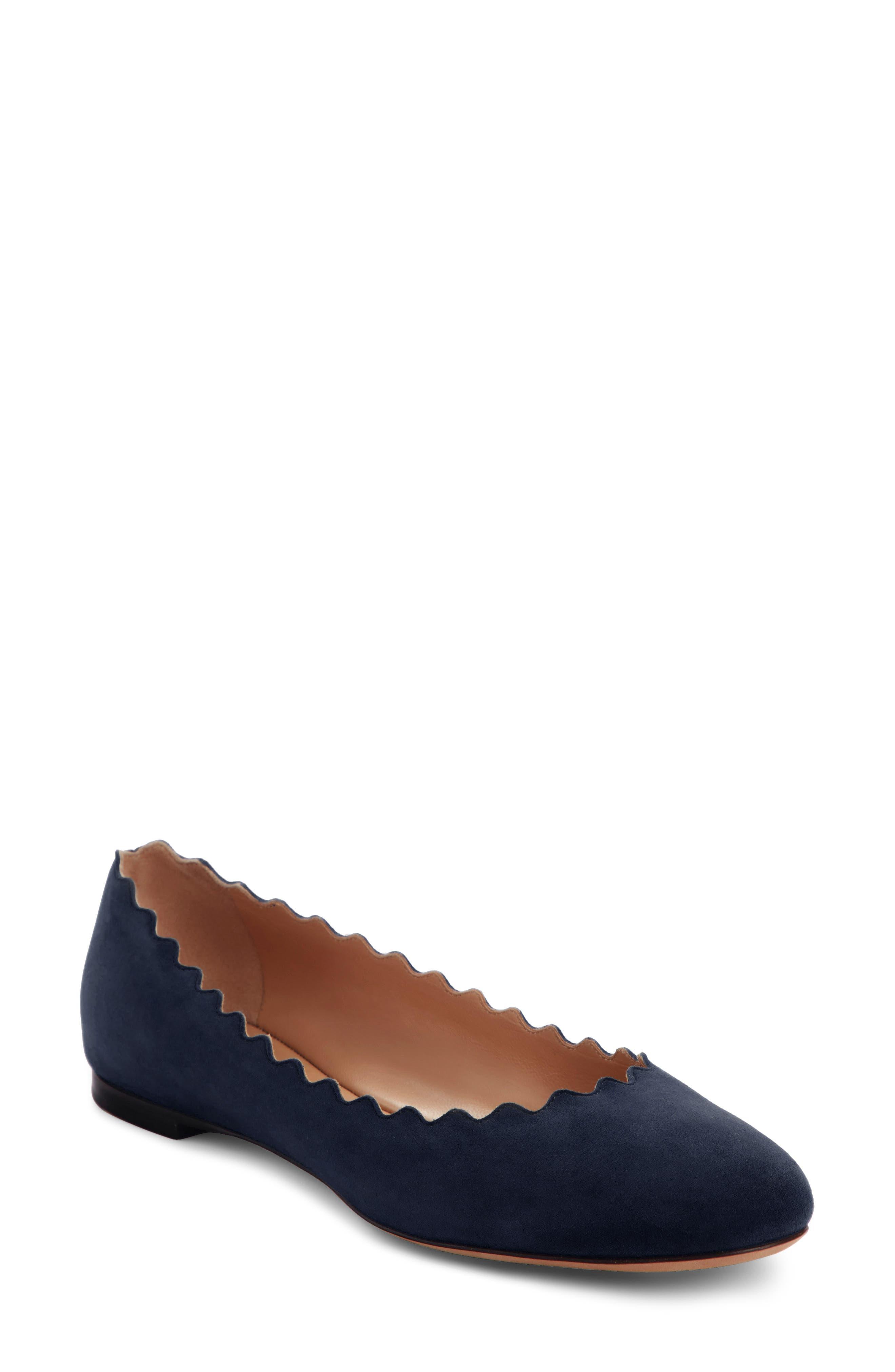 CHLOÉ 'Lauren' Scalloped Ballet Flat, Main, color, MAJOLICA BLUE