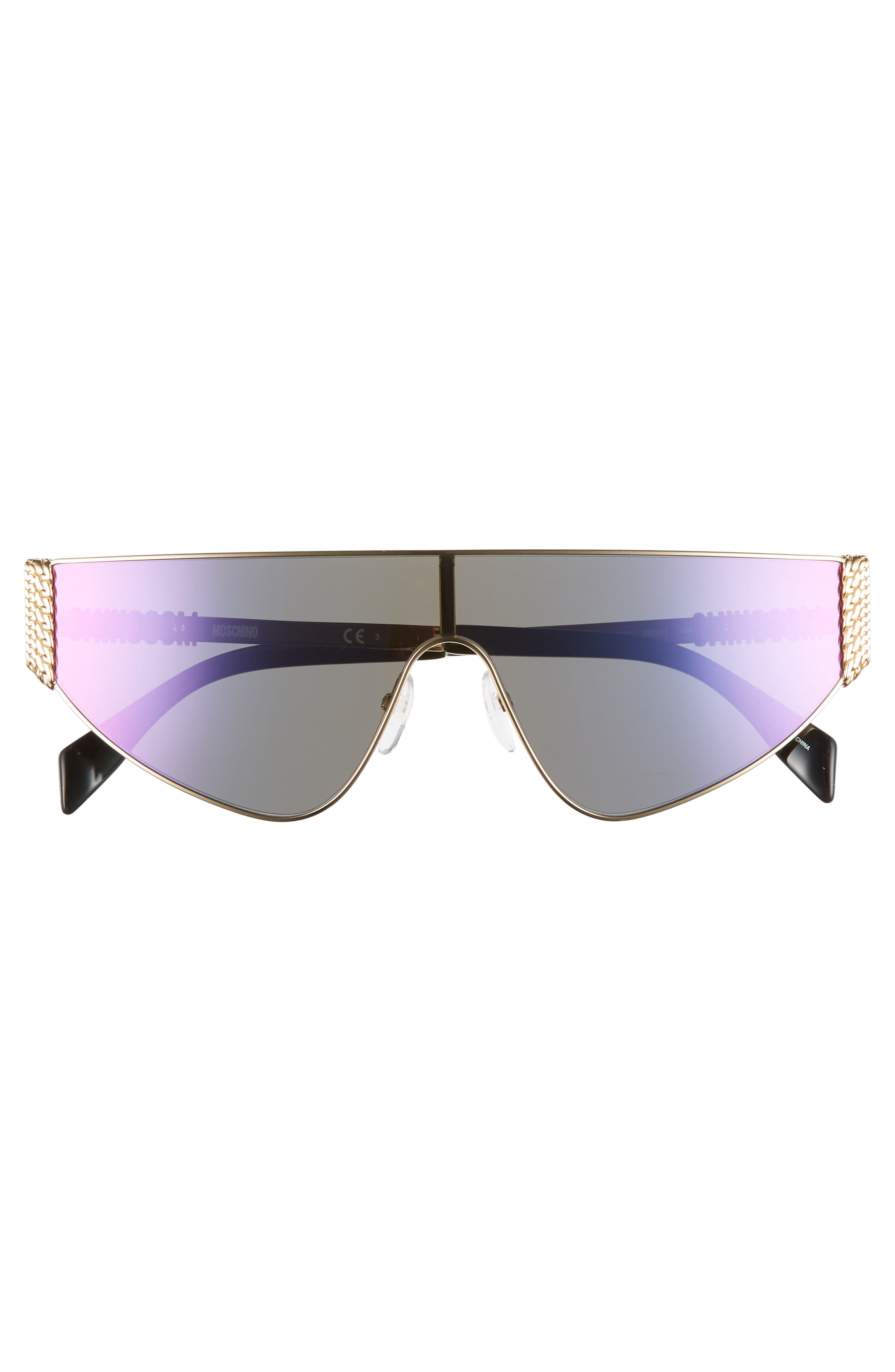 MOSCHINO, 99mm Shield Sunglasses, Alternate thumbnail 3, color, ROSE GOLD