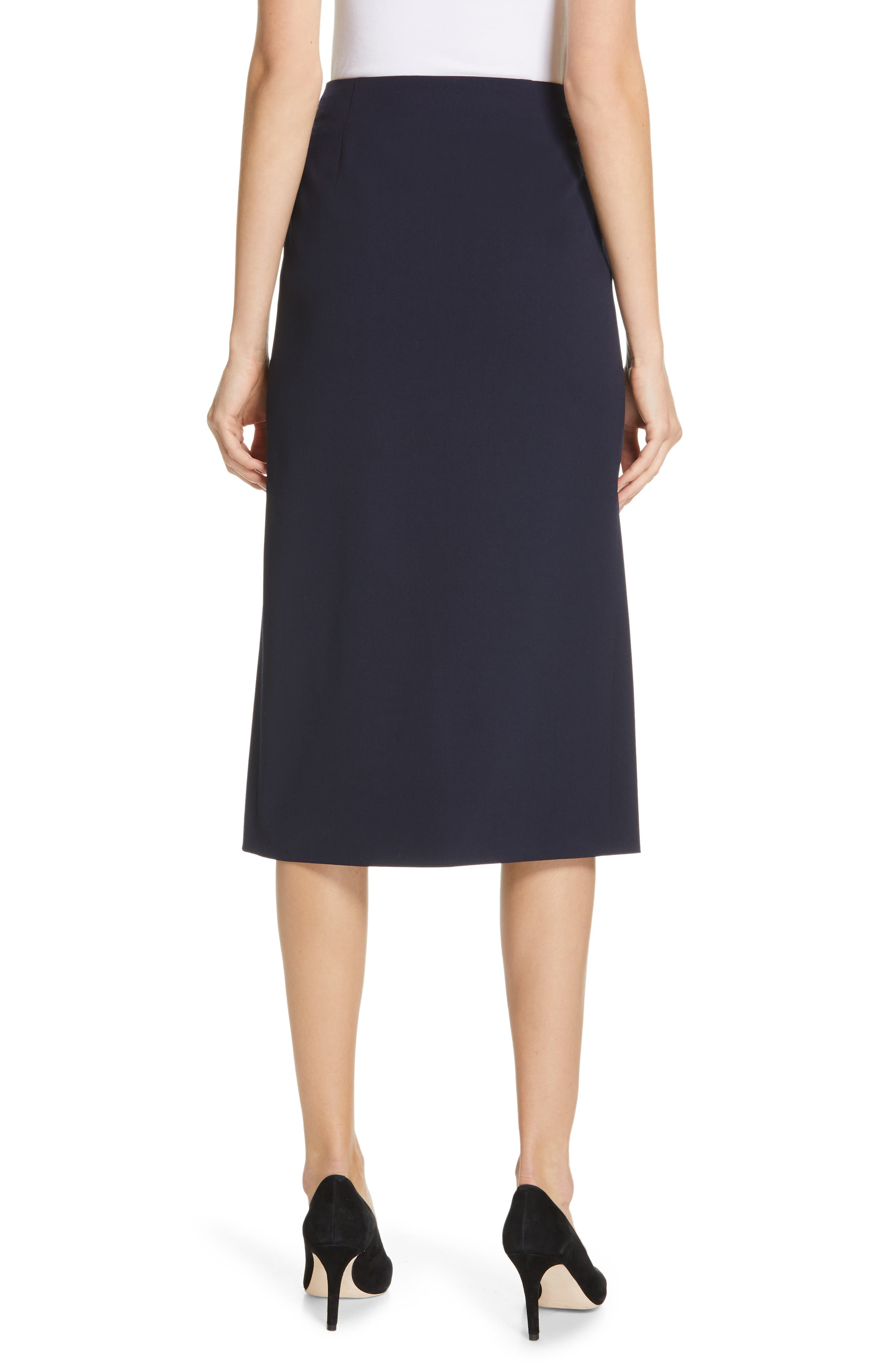 POLO RALPH LAUREN, A-Line Skirt, Alternate thumbnail 2, color, NAVY