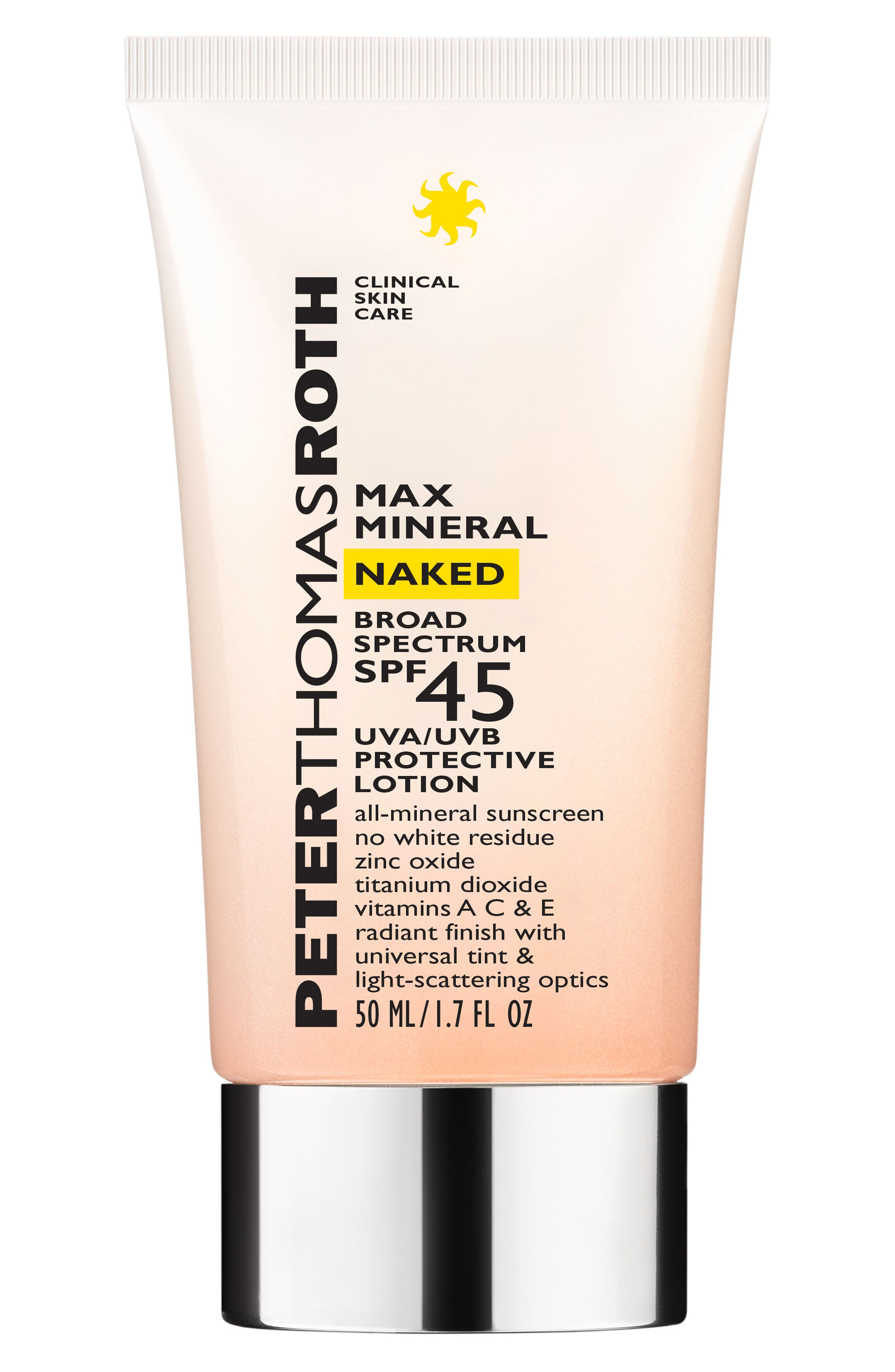 PETER THOMAS ROTH Max Mineral Naked SPF 45 Broad Spectrum Protective Lotion, Main, color, NO COLOR