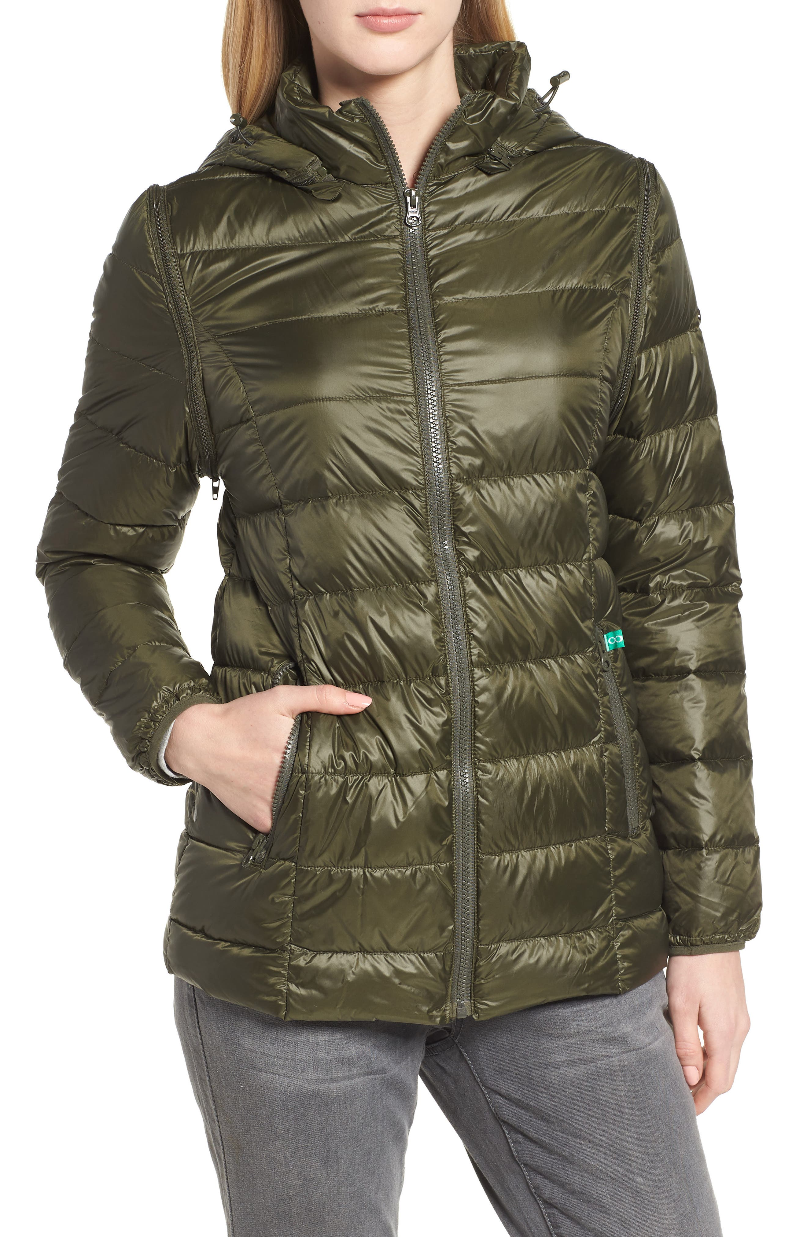 MODERN ETERNITY, Lightweight Puffer Convertible 3-in-1 Maternity Jacket, Alternate thumbnail 2, color, KHAKI GREEN