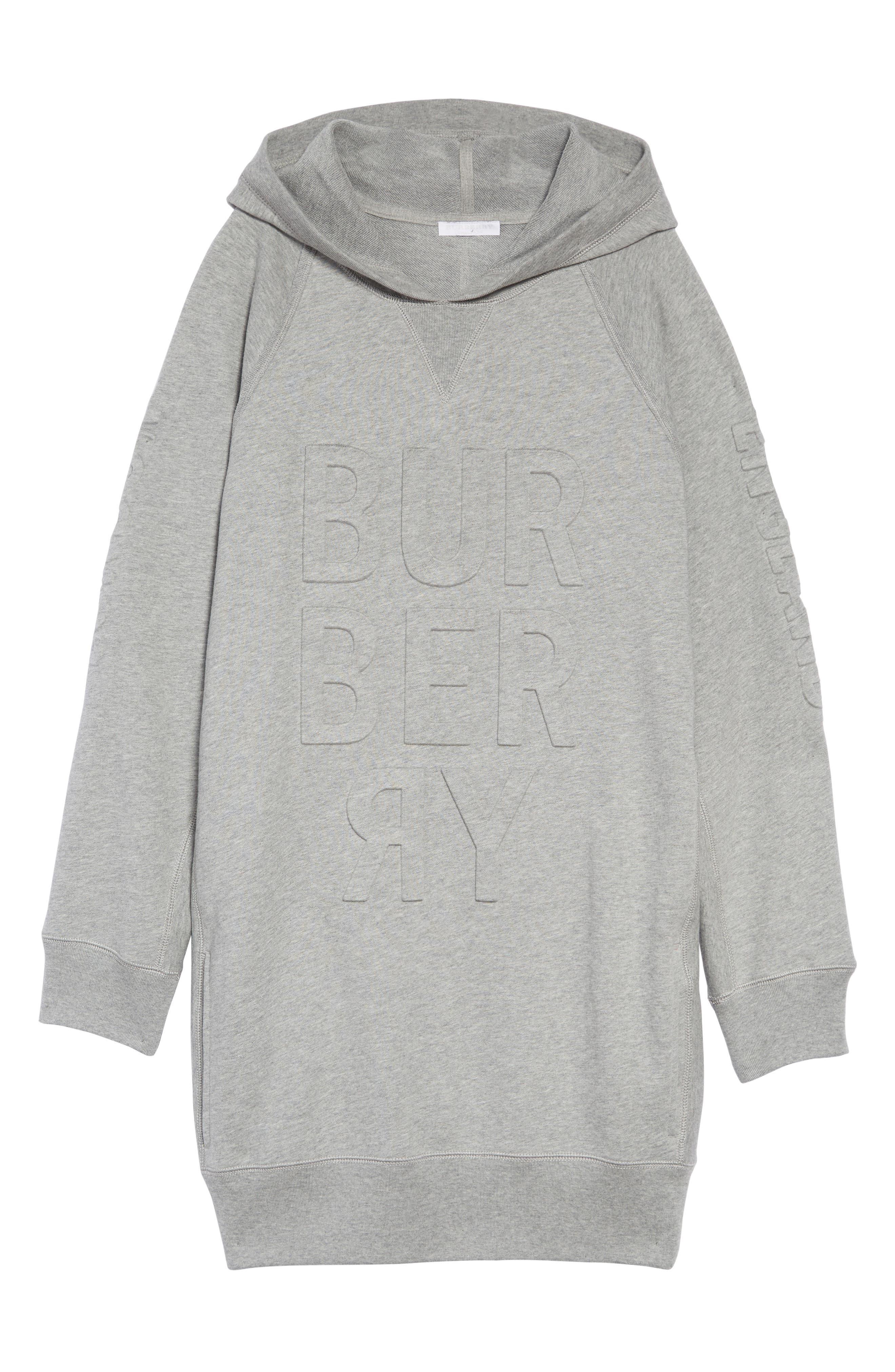 BURBERRY, Aurora Logo Sweatshirt Dress, Main thumbnail 1, color, GREY MELANGE
