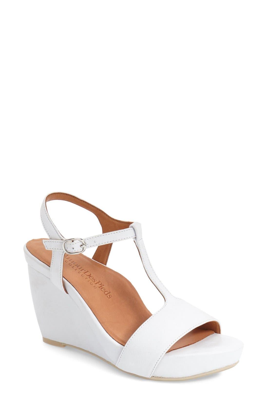 L'AMOUR DES PIEDS, Idelle' Platform Wedge Sandal, Main thumbnail 1, color, WHITE LEATHER