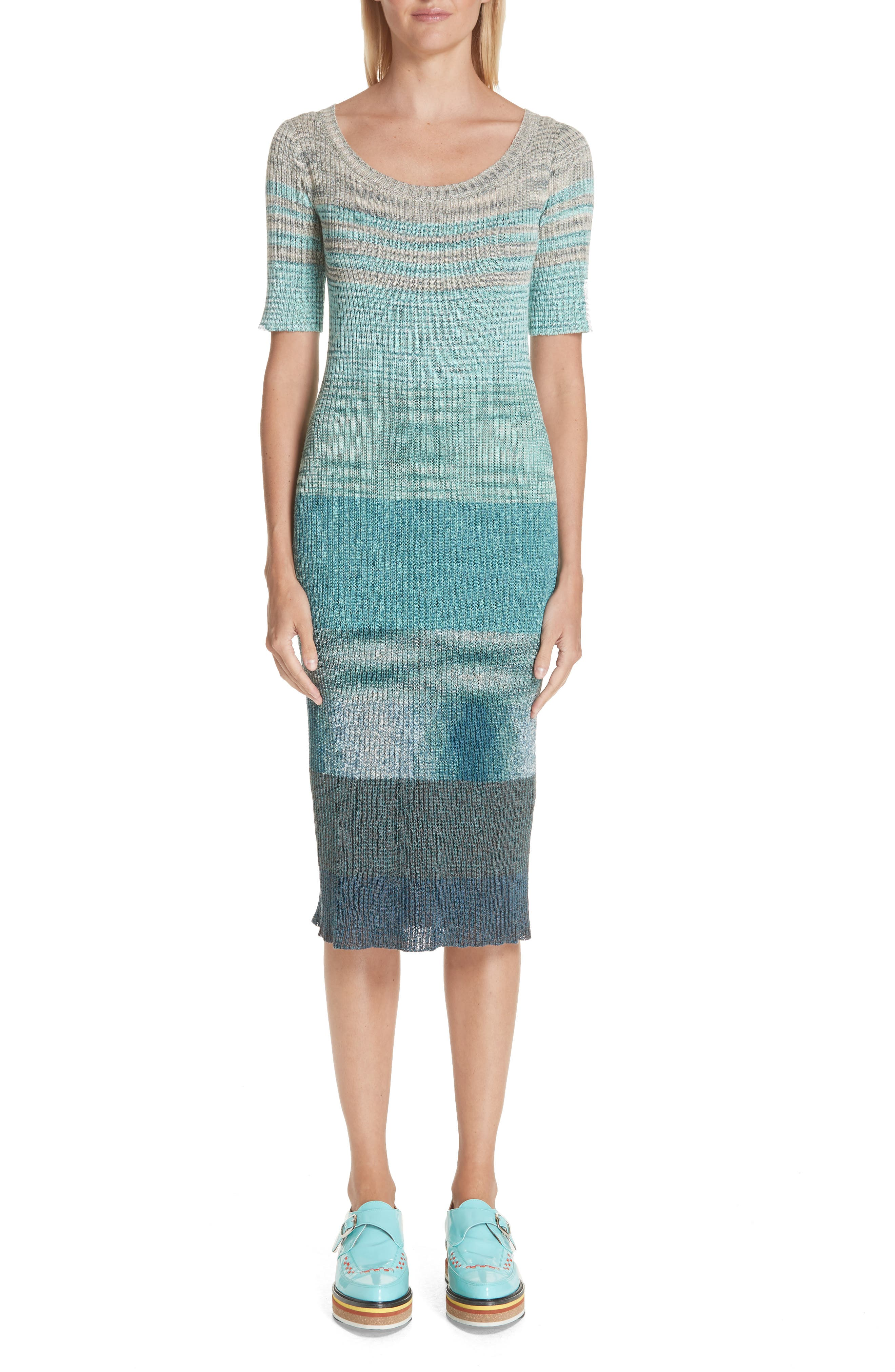 Missoni Boatneck Ribbed Dress, US / 48 IT - Blue