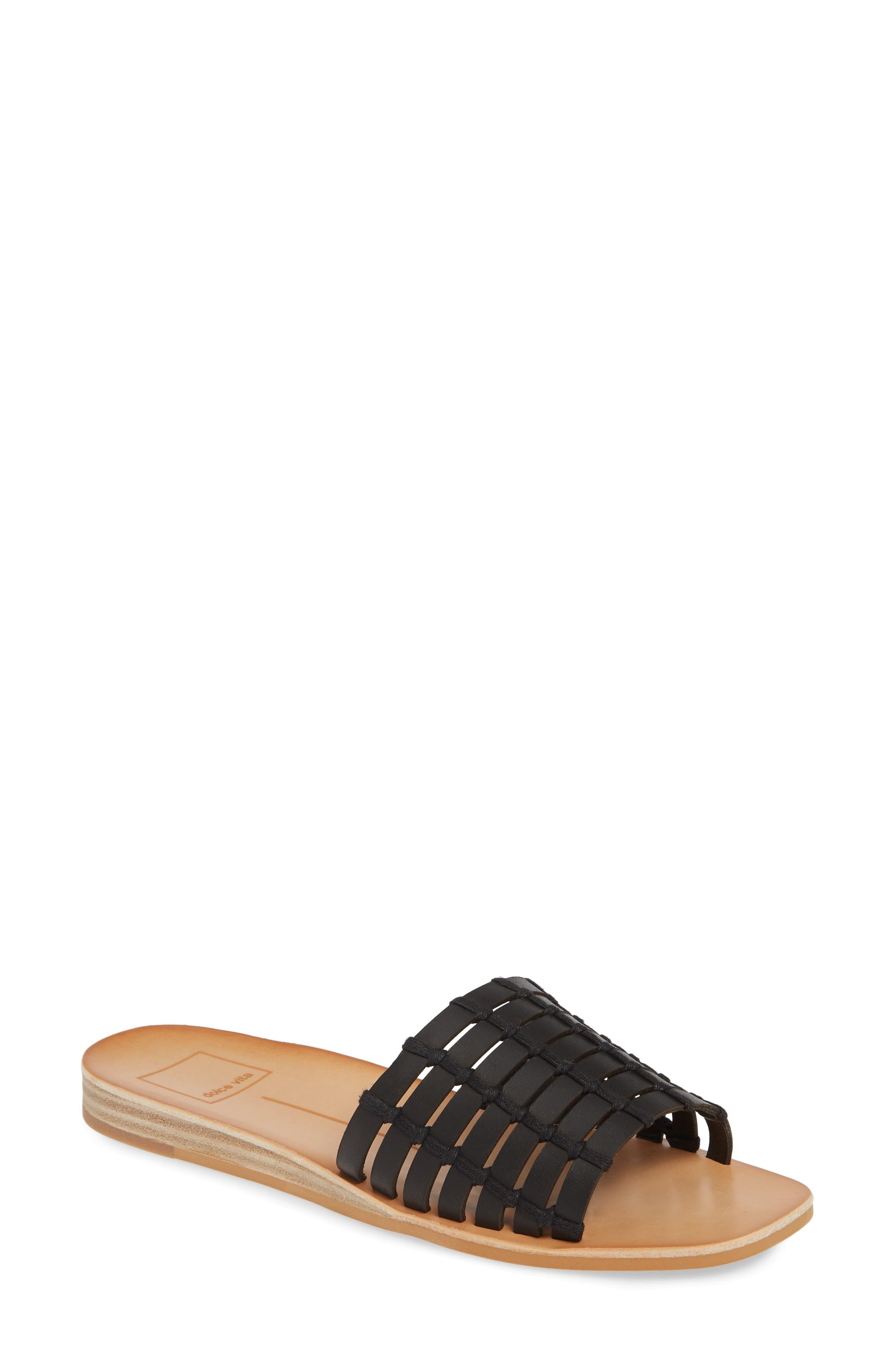 DOLCE VITA, Colsen Slide Sandal, Main thumbnail 1, color, BLACK LEATHER
