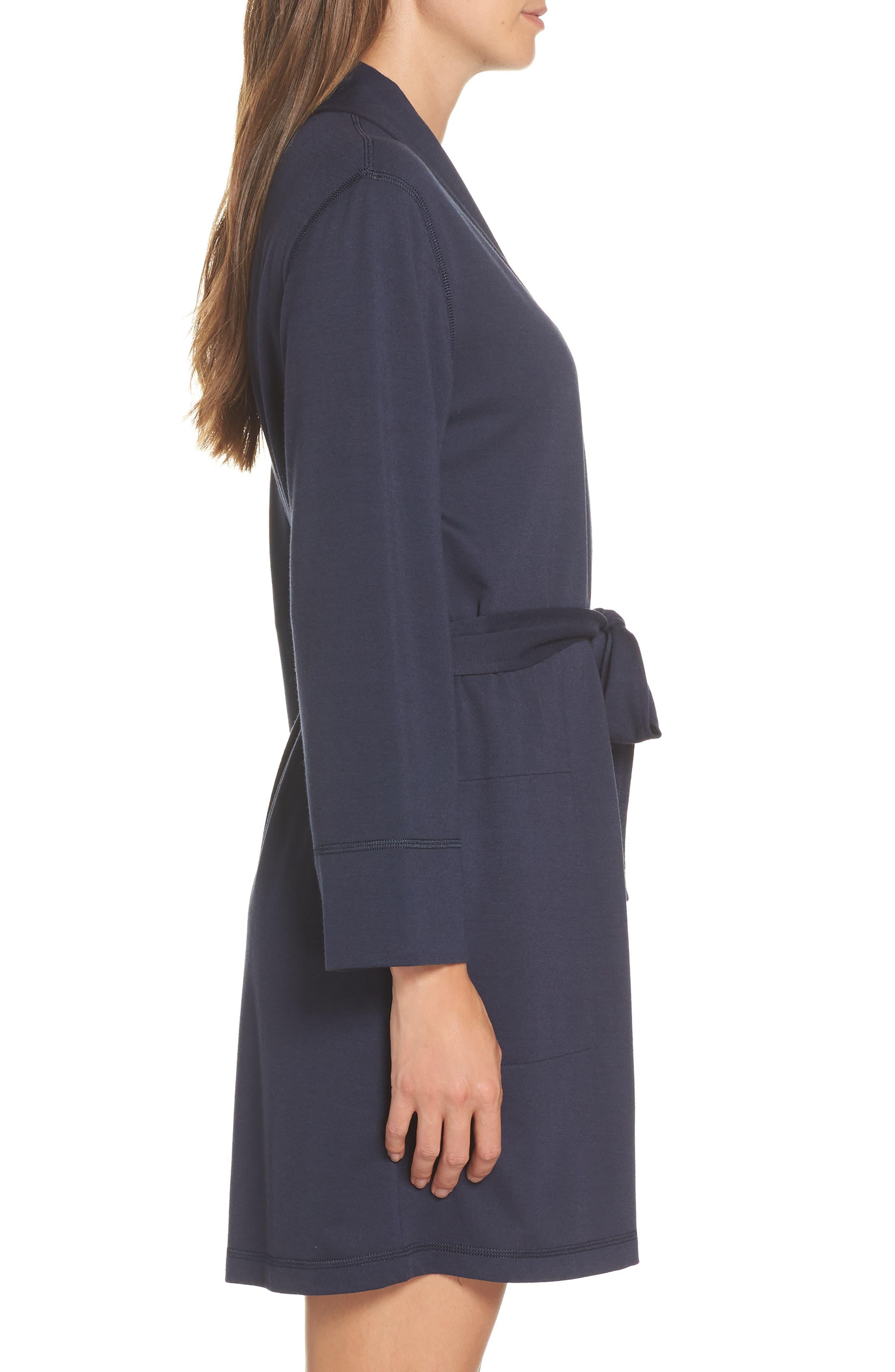 NATORI, Naya Short Robe, Alternate thumbnail 3, color, NIGHT BLUE