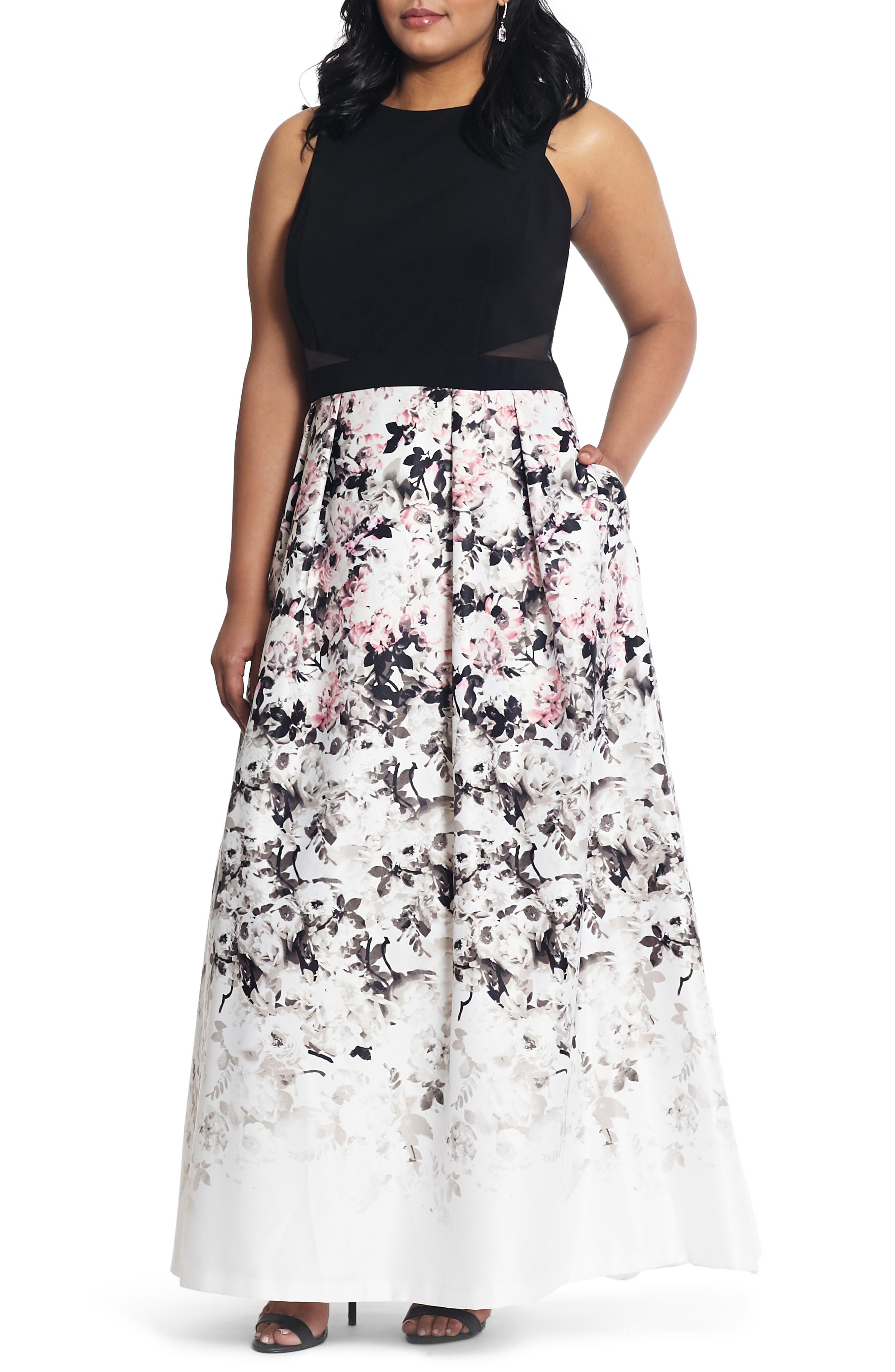 XSCAPE Floral Print Evening Gown, Main, color, BLACK/ PINK