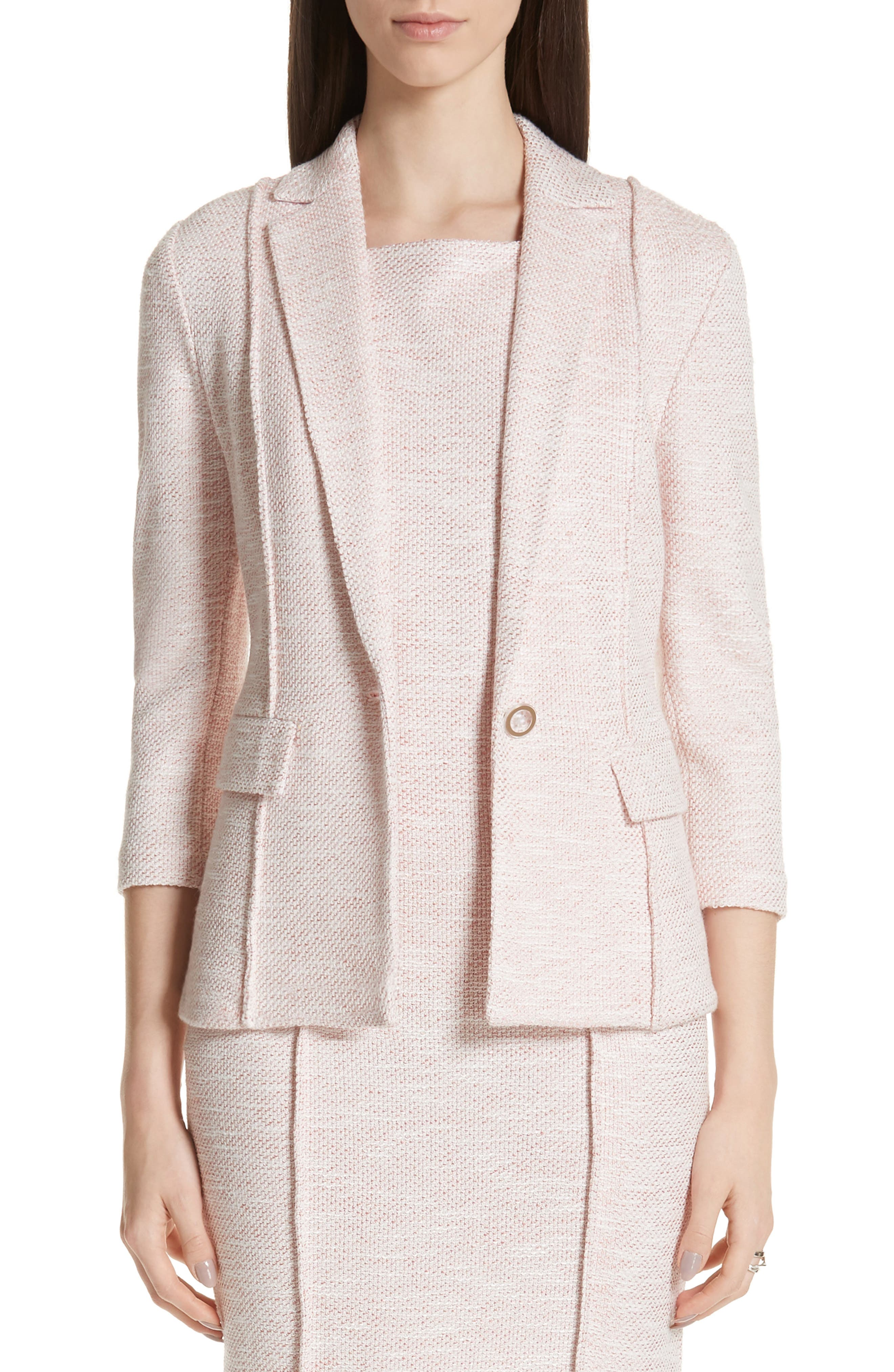 ST. JOHN COLLECTION, Belinda Knit Jacket, Main thumbnail 1, color, WHITE/ CORAL MULTI