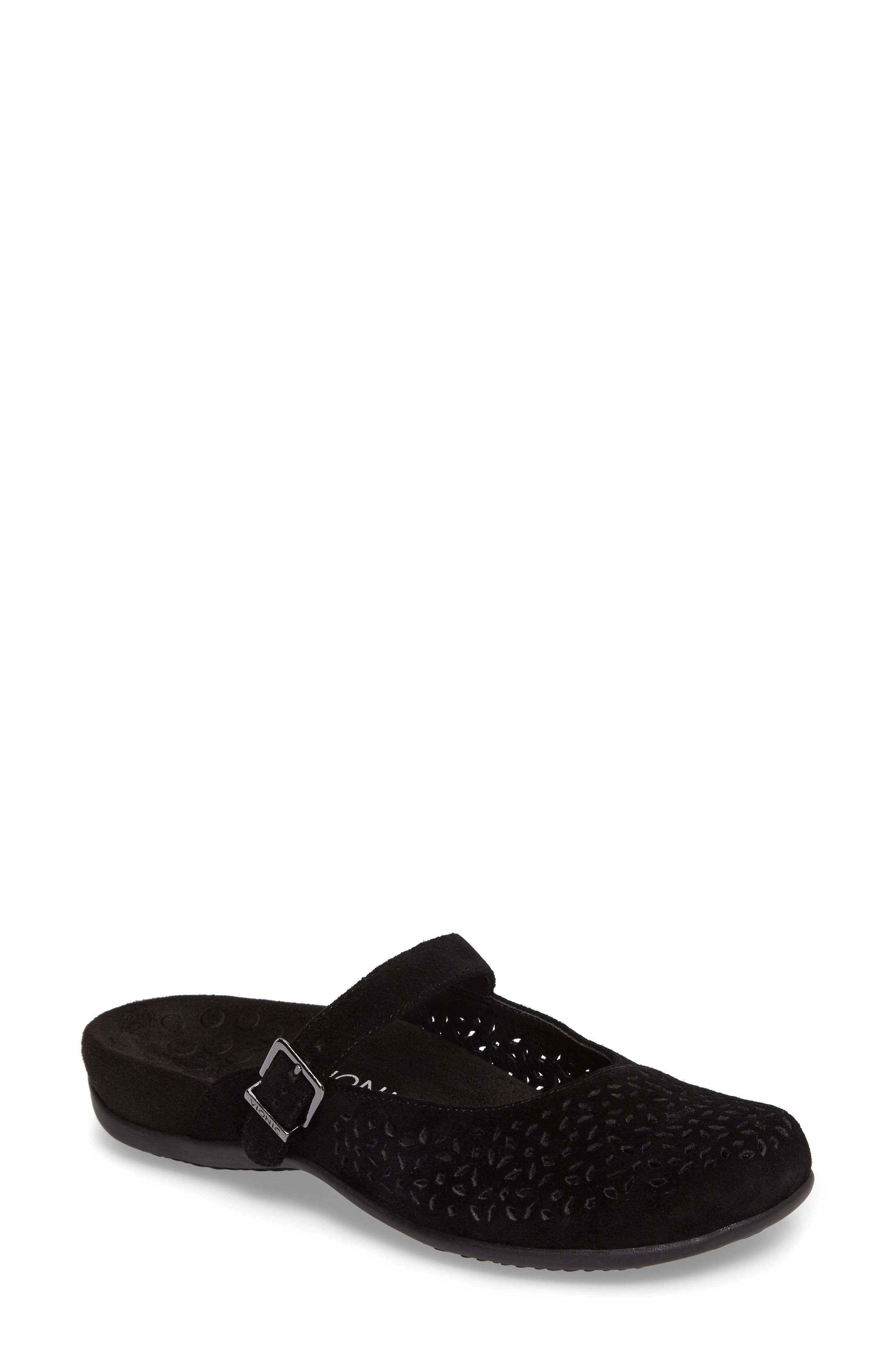 VIONIC, Rest Lidia Perforated Mary Jane Mule, Main thumbnail 1, color, BLACK SUEDE