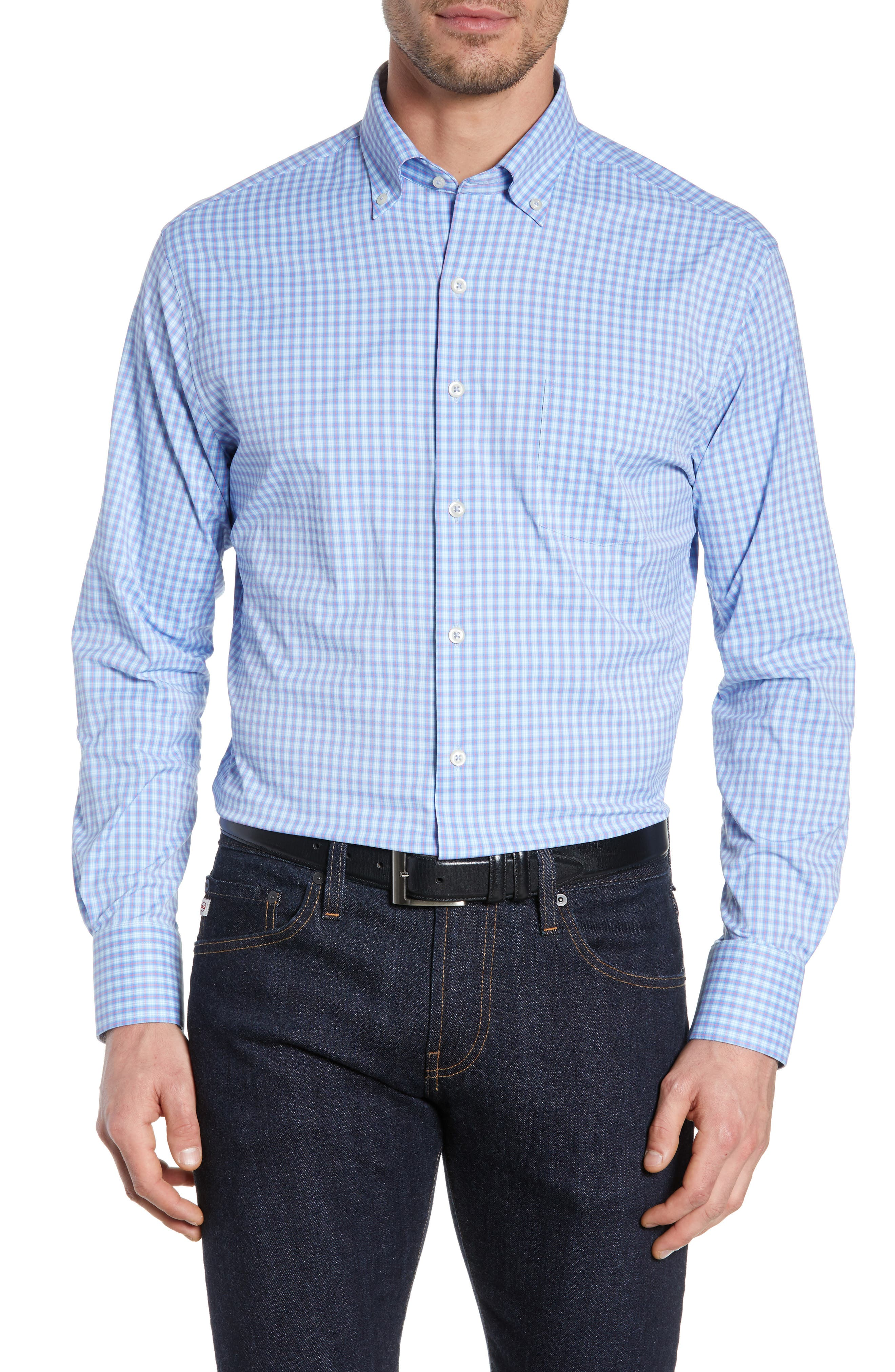PETER MILLAR, Hawkins Plaid Performance Sport Shirt, Main thumbnail 1, color, VESSEL