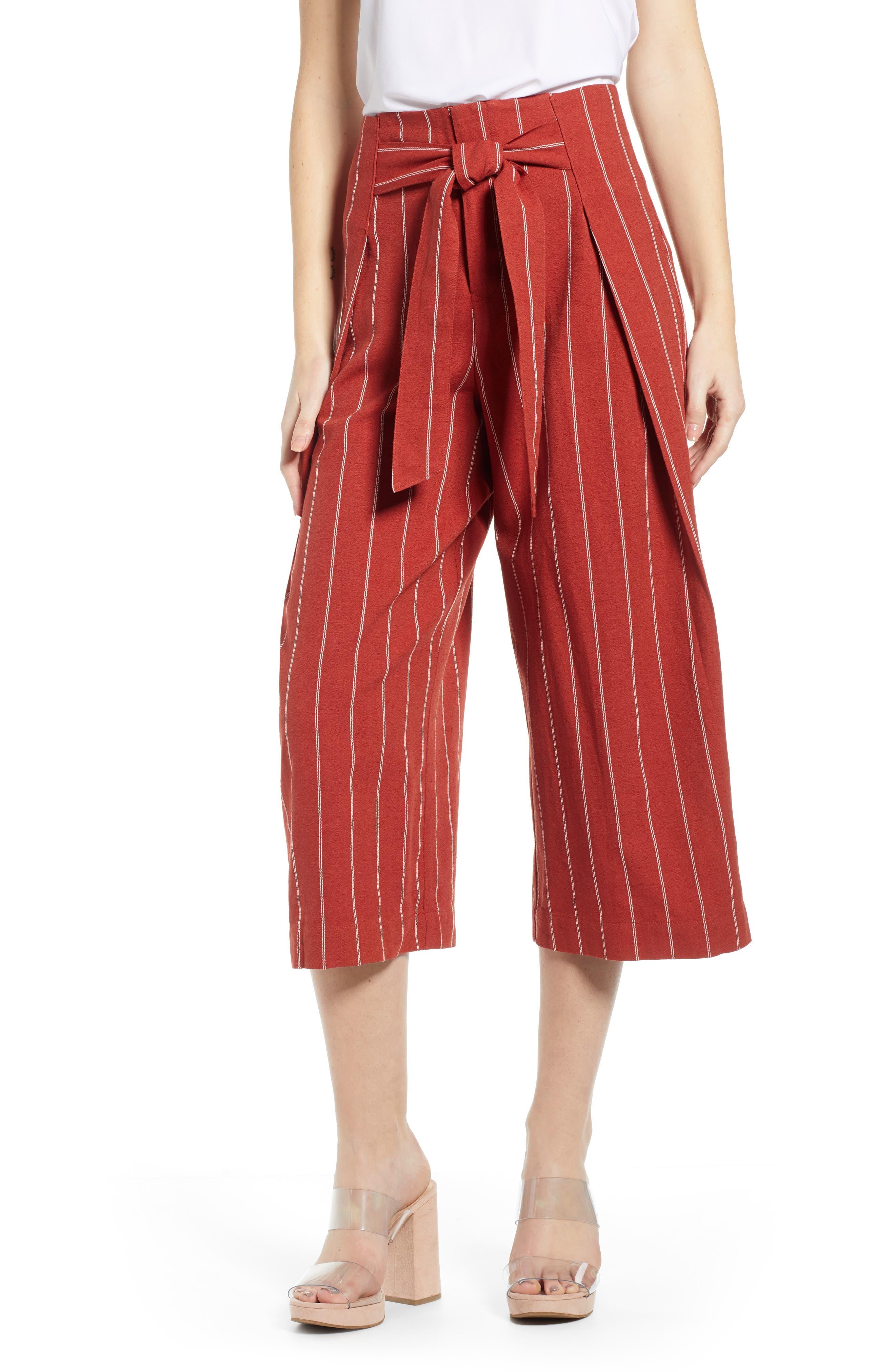J.O.A. Wide Leg Linen & Cotton Pants, Main, color, BRICK STRIPE