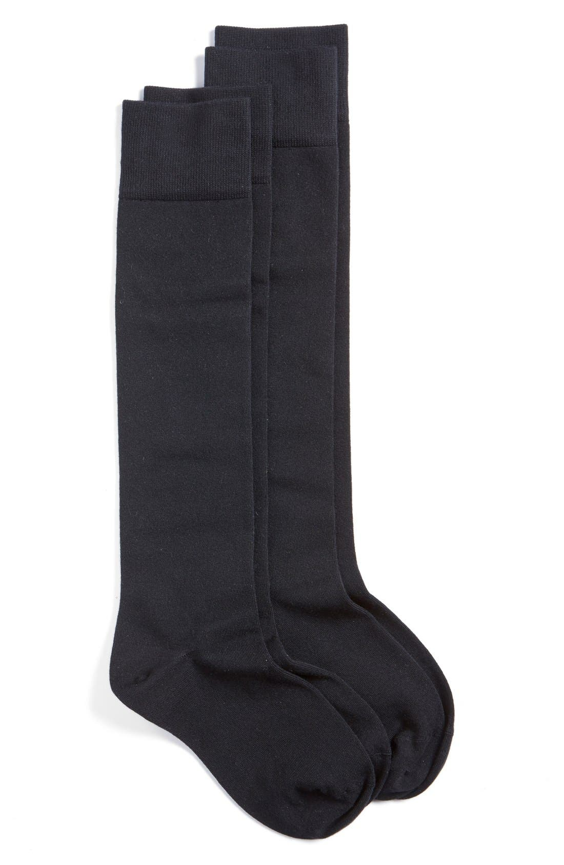 NORDSTROM 2-Pack Knee High Socks, Main, color, BLACK