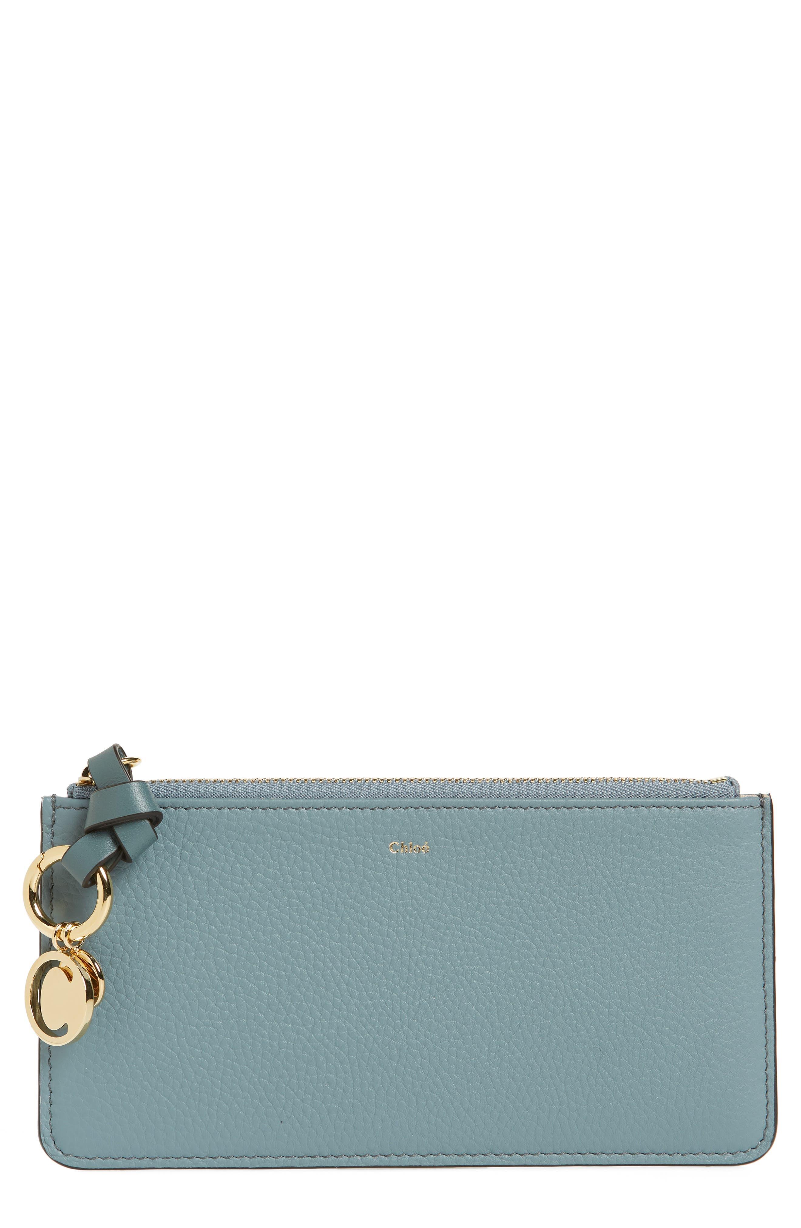 CHLOÉ, Zip Wallet Pouch, Main thumbnail 1, color, CLOUDY BLUE