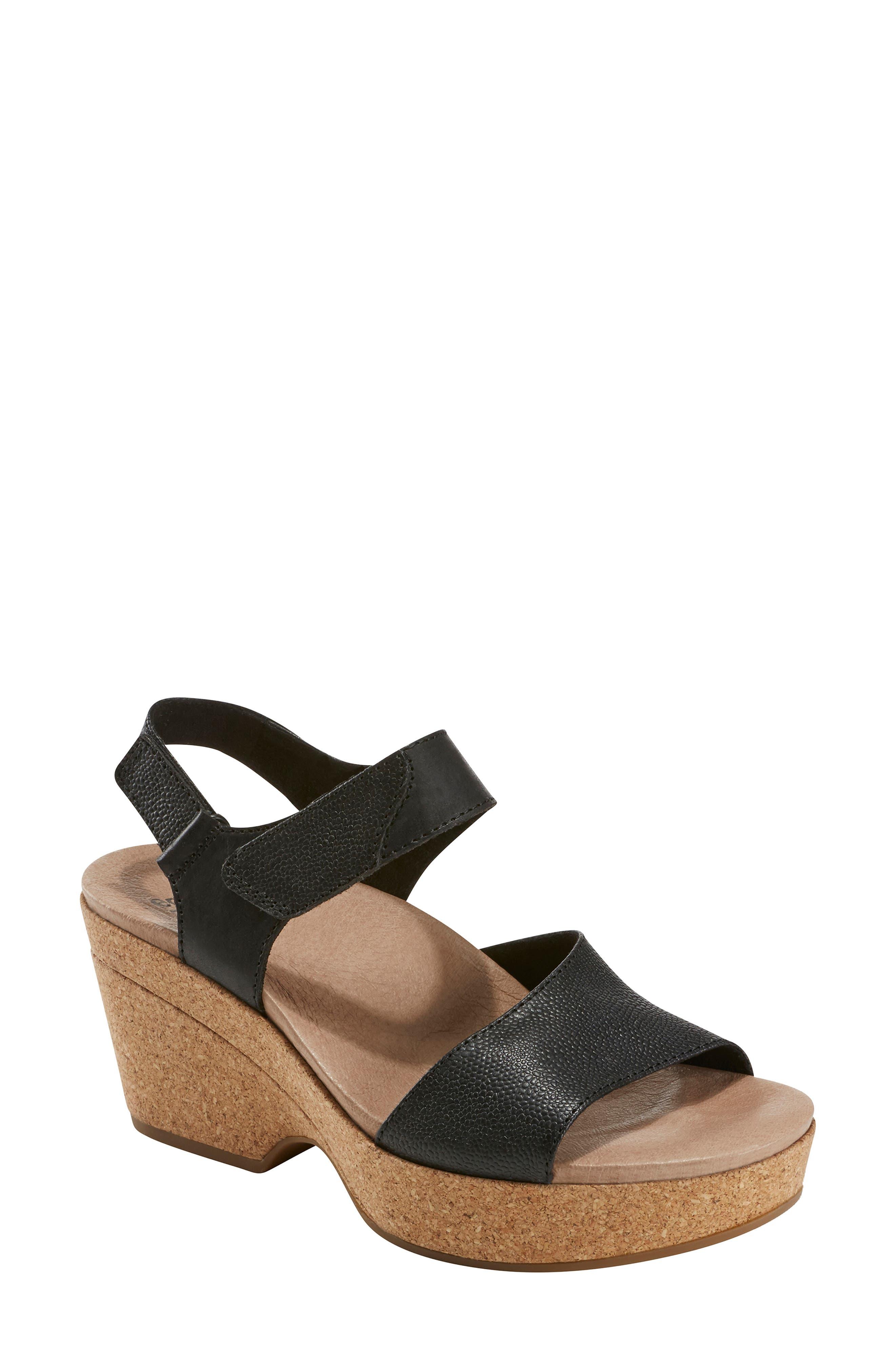 EARTH<SUP>®</SUP> Kella Platform Sandal, Main, color, BLACK LEATHER