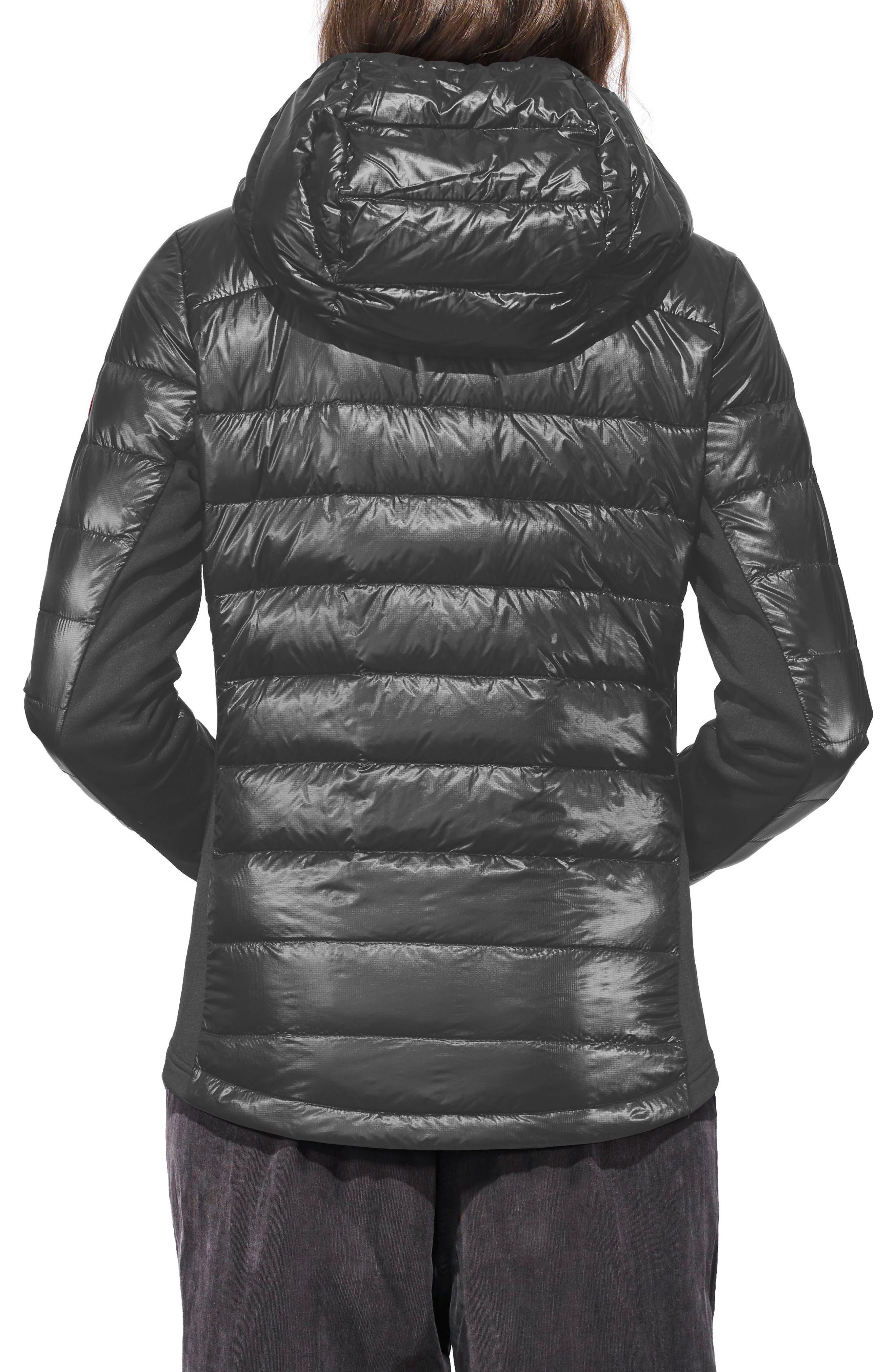 CANADA GOOSE, 'Hybridge Lite' Slim Fit Hooded Packable Down Jacket, Alternate thumbnail 2, color, S GRAPHITE/ L BLACK
