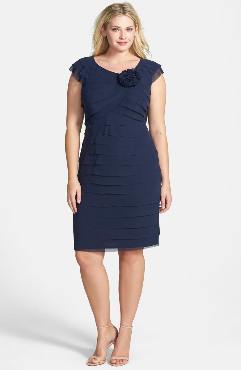 London Times Shutter Pleat Chiffon Sheath Dress Main Color 411