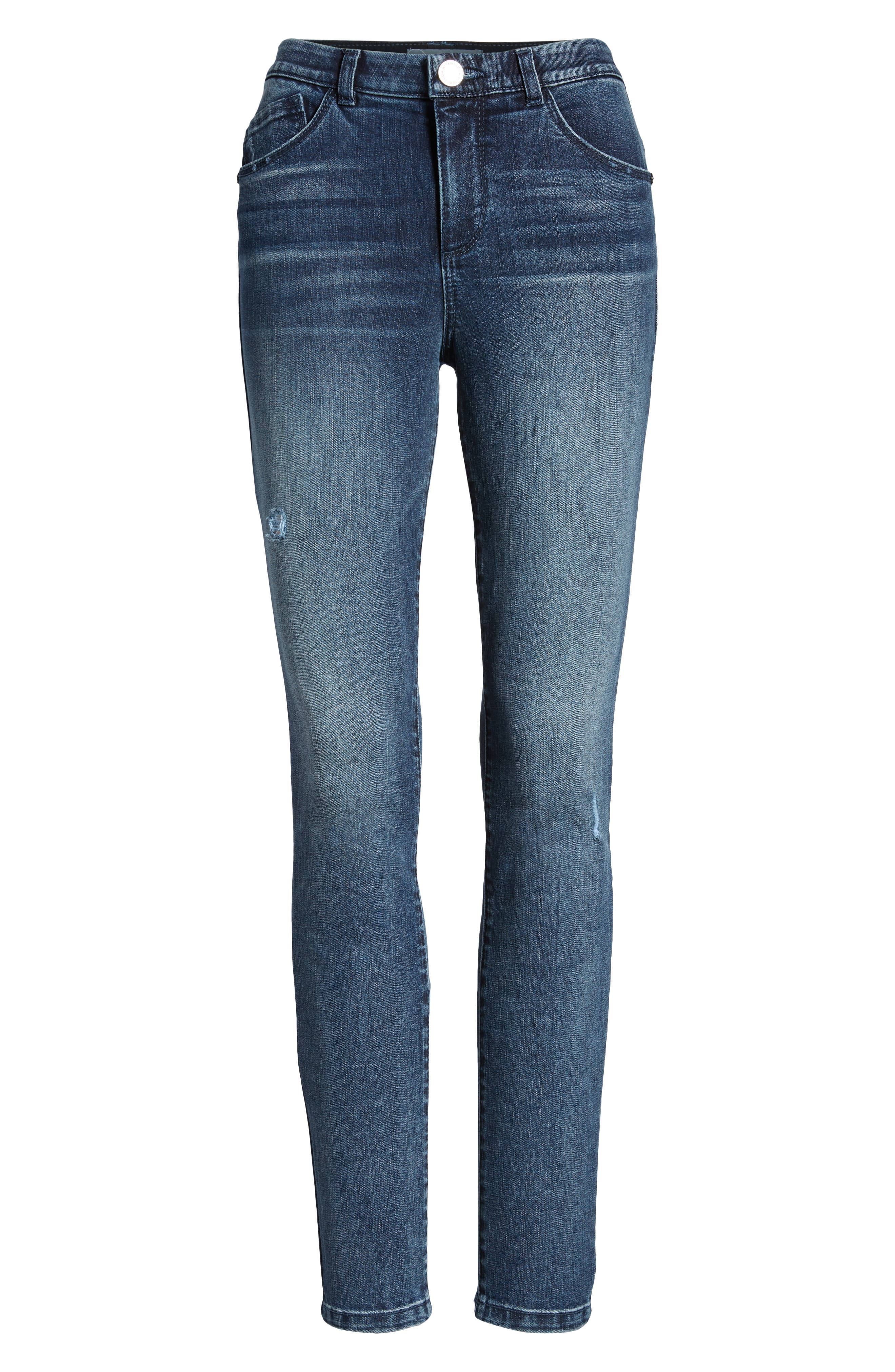 WIT & WISDOM, Ab-Solution High Waist Skinny Jeans, Alternate thumbnail 7, color, BLUE
