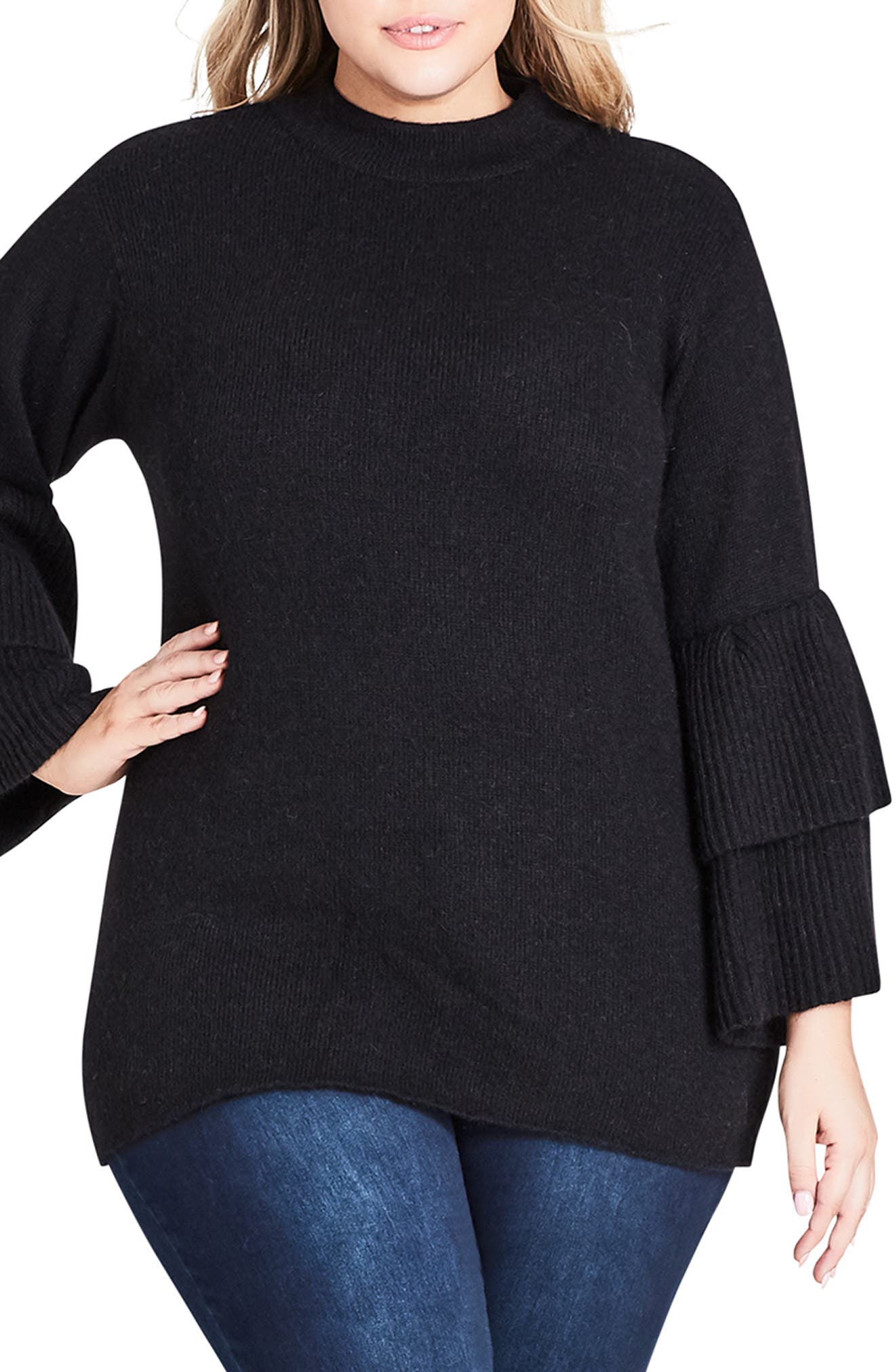 CITY CHIC, Tiered Sleeve Sweater, Main thumbnail 1, color, BLACK