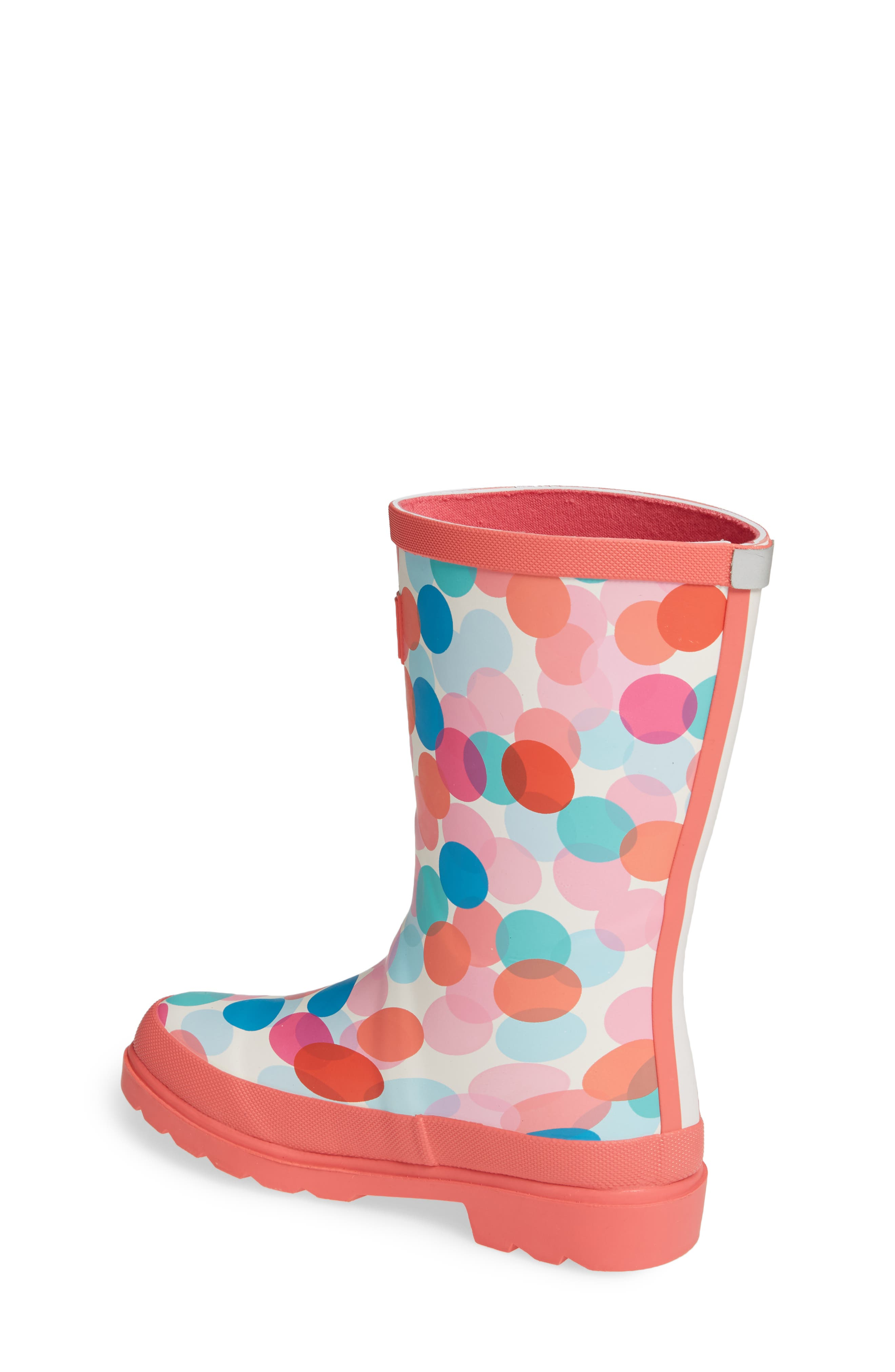 JOULES, Mid Height Print Welly Waterproof Rain Boot, Alternate thumbnail 2, color, CREAM FAIRY DITSY