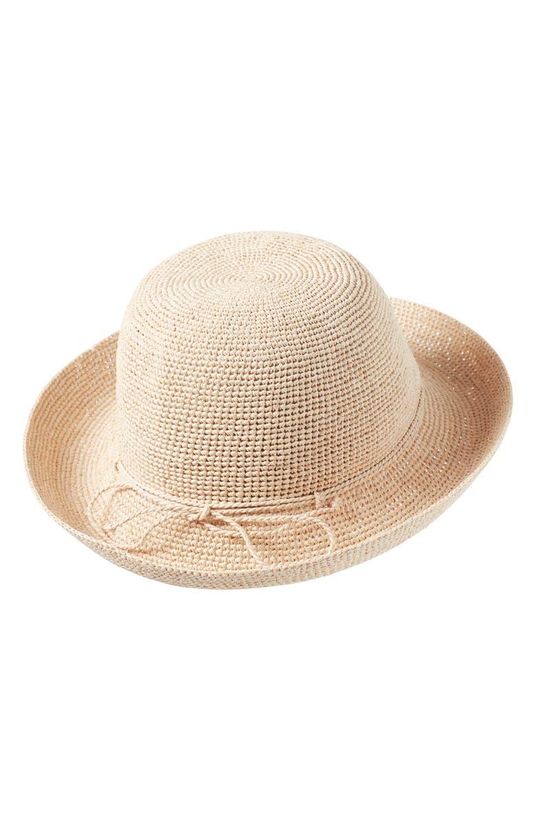 7014643097806 Helen Kaminski Classic Upturn Crocheted Raffia Hat - Brown In Natural