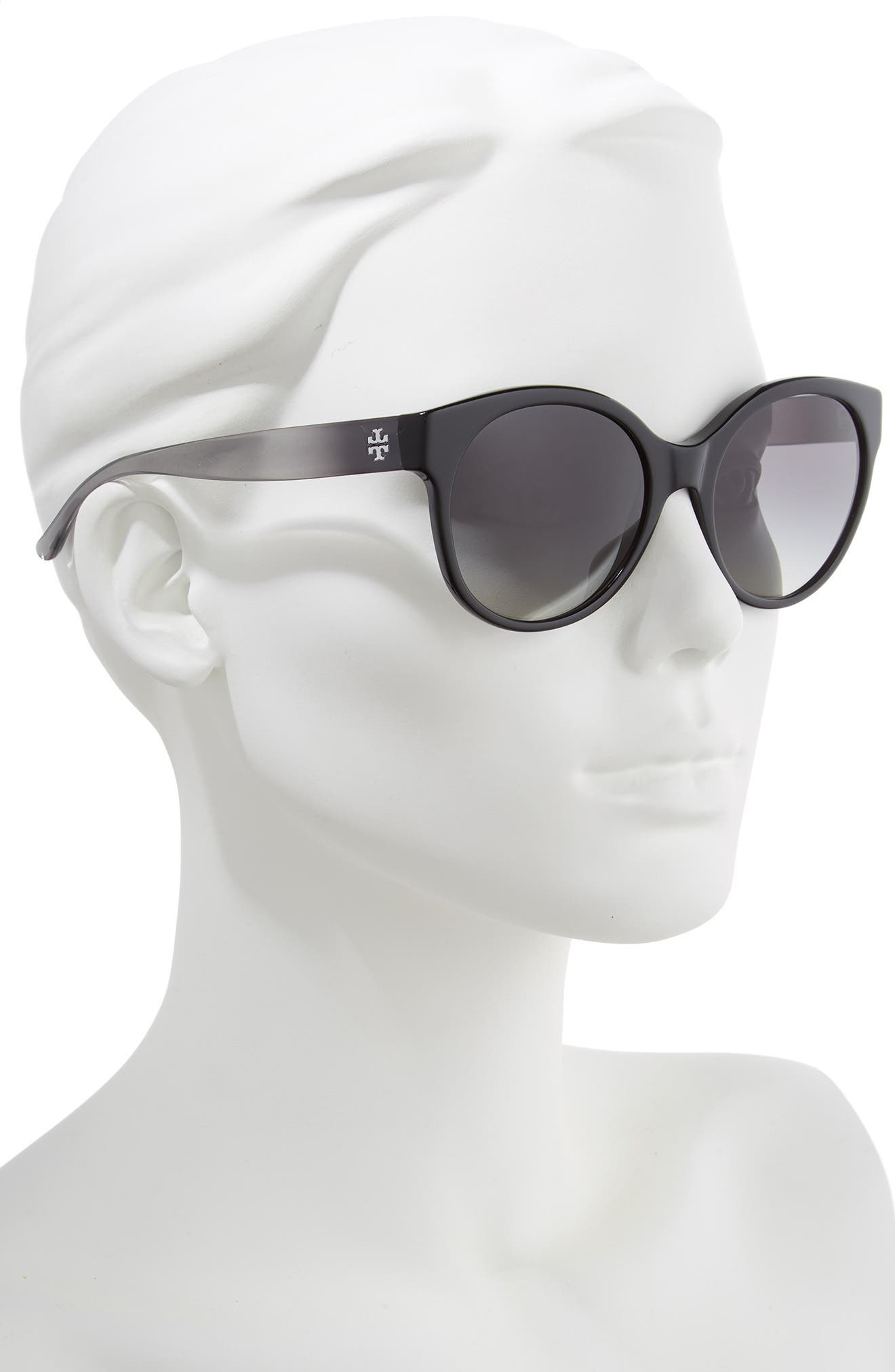 TORY BURCH, Stacked T 55mm Round Sunglasses, Alternate thumbnail 2, color, BLACK GRADIENT