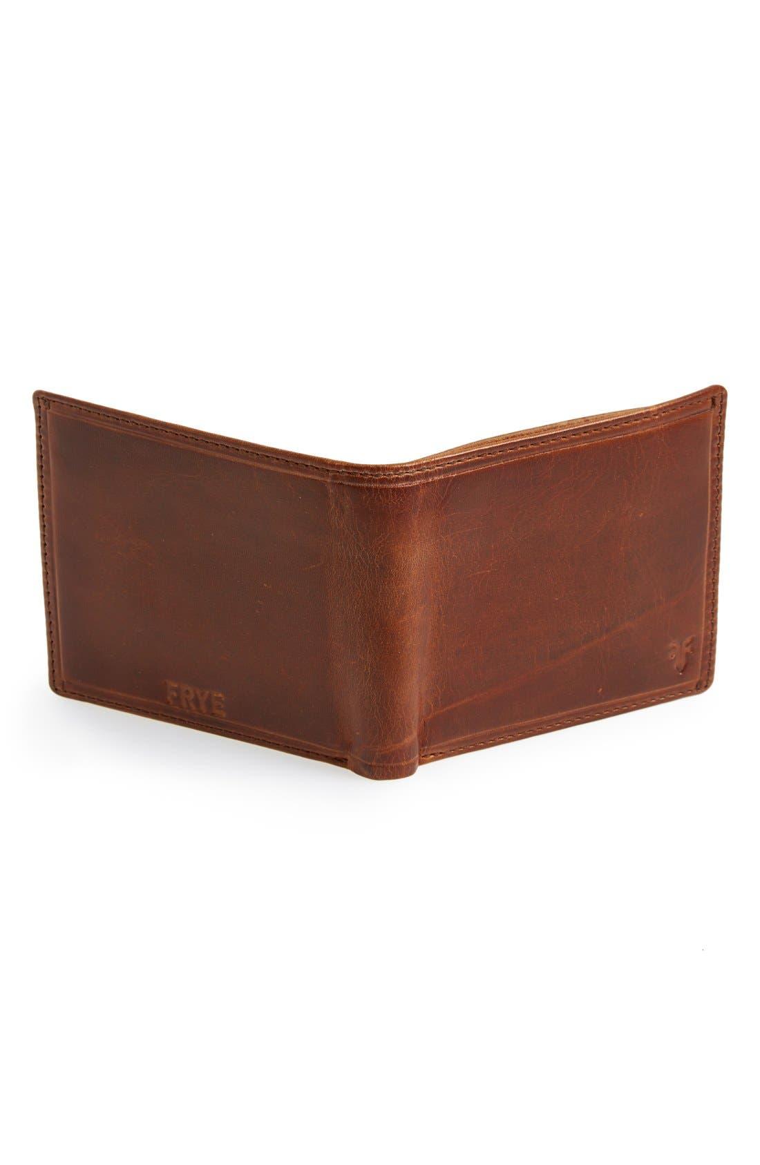 FRYE, 'Logan' Leather Billfold Wallet, Alternate thumbnail 3, color, COGNAC
