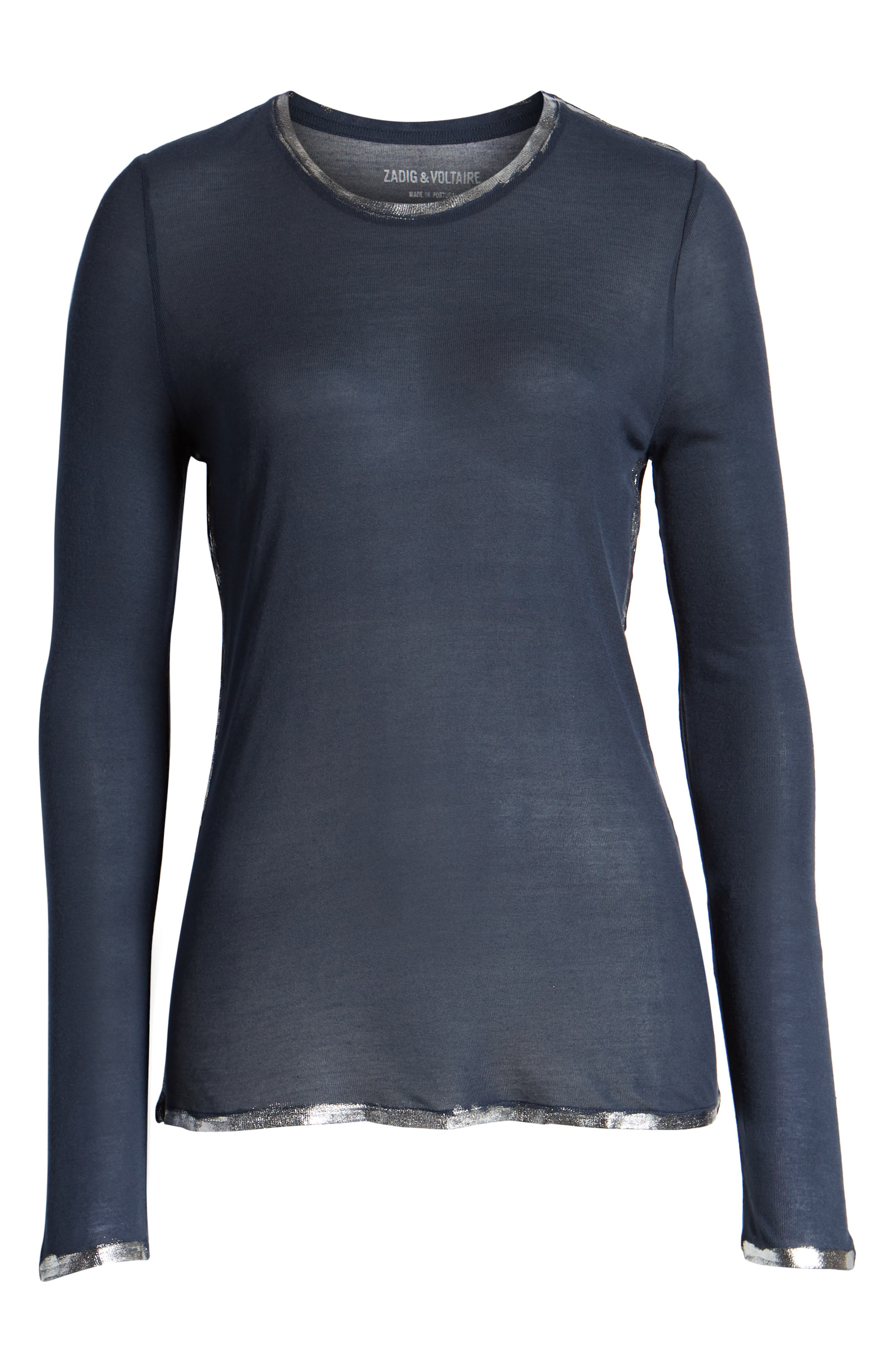 ZADIG & VOLTAIRE, Willy Foil Tee, Alternate thumbnail 6, color, MARINE