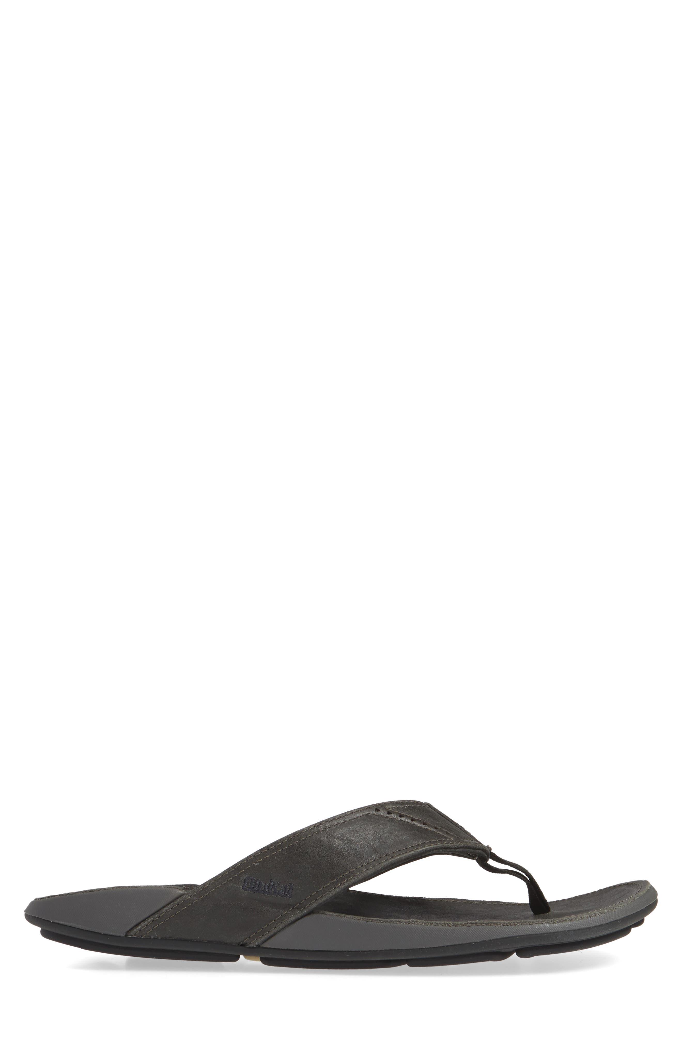 OLUKAI, 'Nui' Leather Flip Flop, Alternate thumbnail 3, color, LAVA ROCK LEATHER