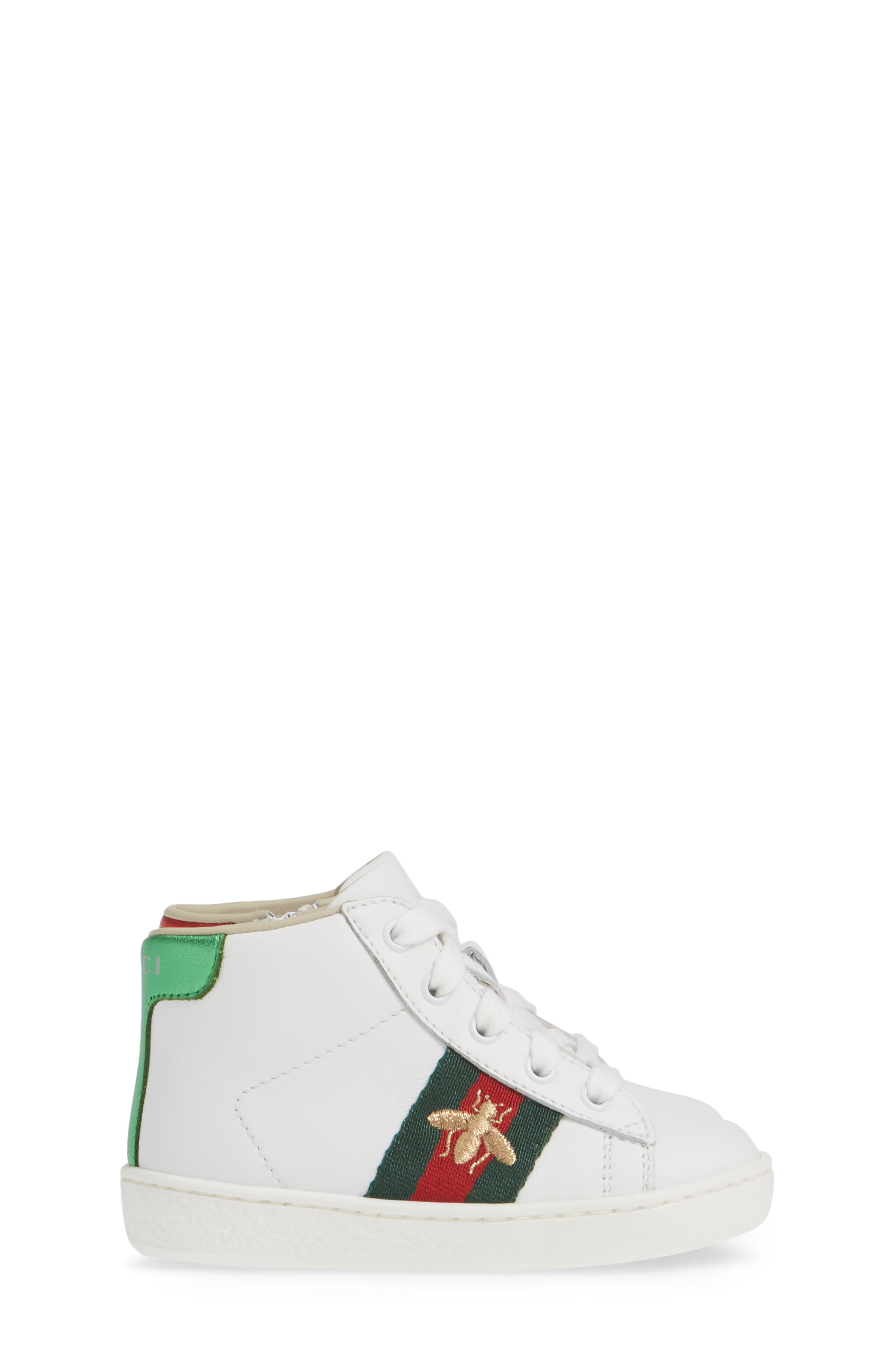 GUCCI, New Ace High Top Sneaker, Alternate thumbnail 4, color, WHITE MULTI