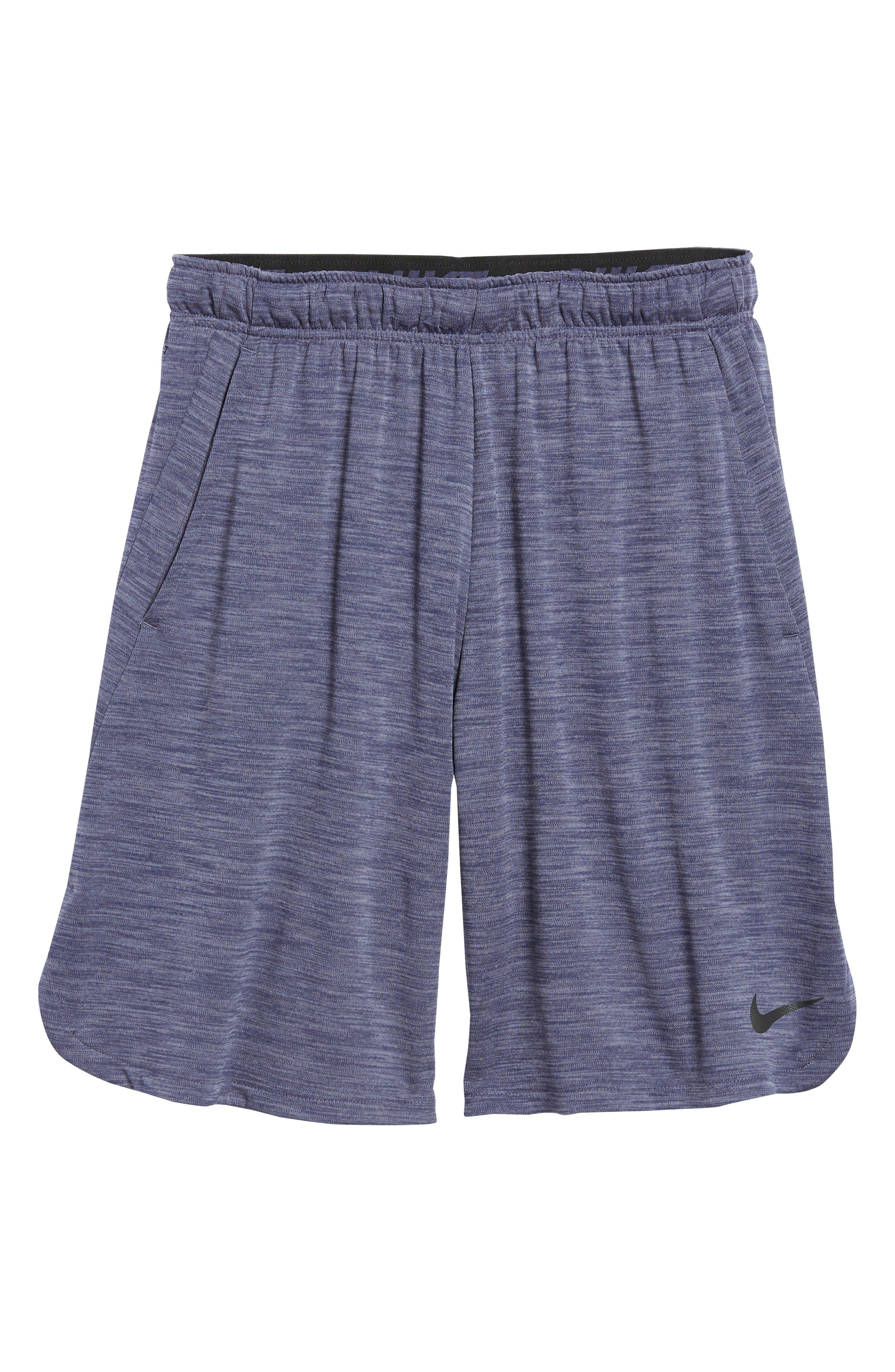 NIKE, Dry Training Shorts, Alternate thumbnail 7, color, LIGHT CARBON/ BLACK