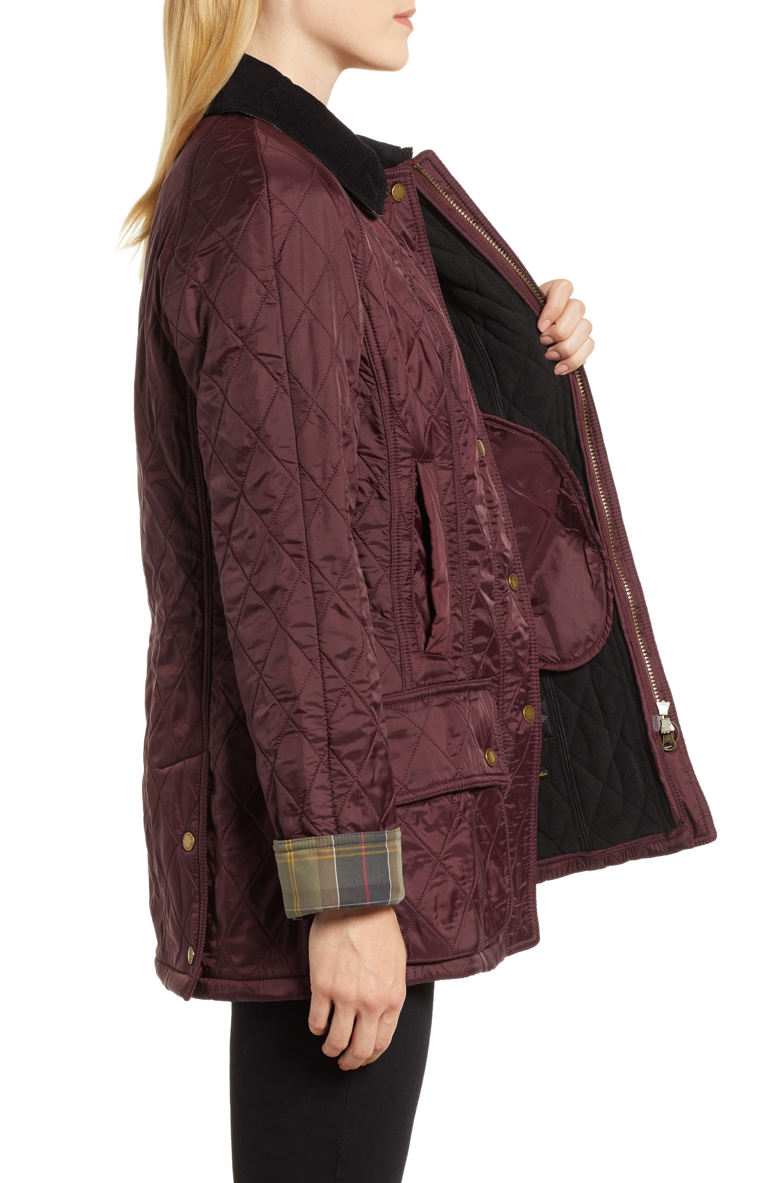 BARBOUR, 'Beadnell' Quilted Jacket, Alternate thumbnail 4, color, 930