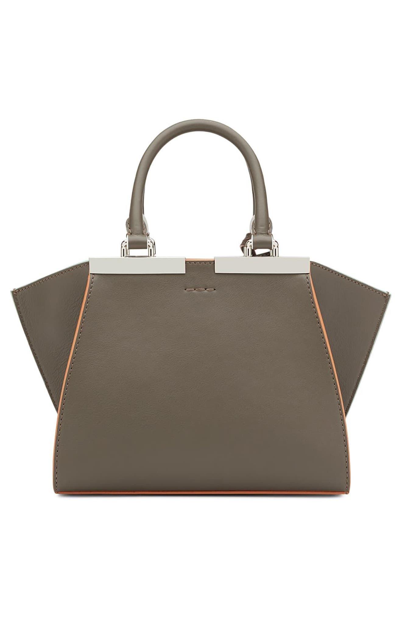 FENDI, 'Mini 3Jours' Calfskin Leather Shopper, Alternate thumbnail 3, color, 077