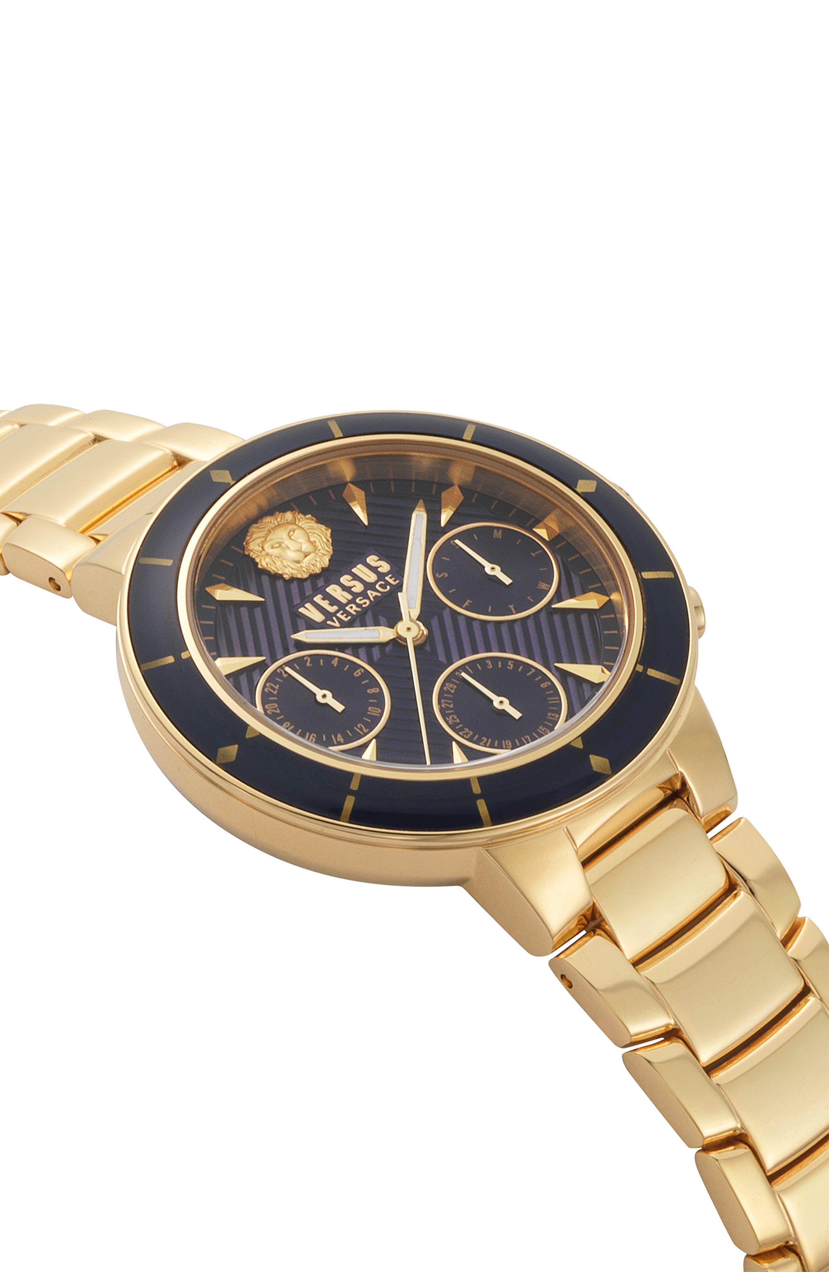 VERSUS VERSACE, Harbour Heights Chronograph Bracelet Watch, 38mm, Alternate thumbnail 3, color, GOLD/ BLUE