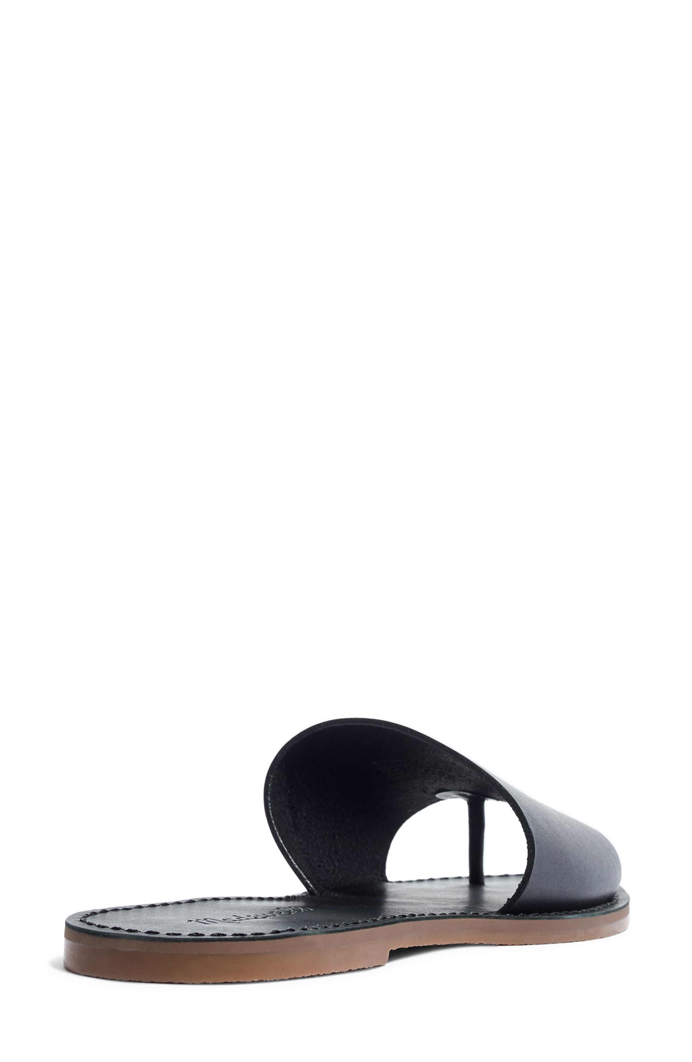 MADEWELL, Boardwalk Post Slide Sandal, Alternate thumbnail 2, color, TRUE BLACK LEATHER