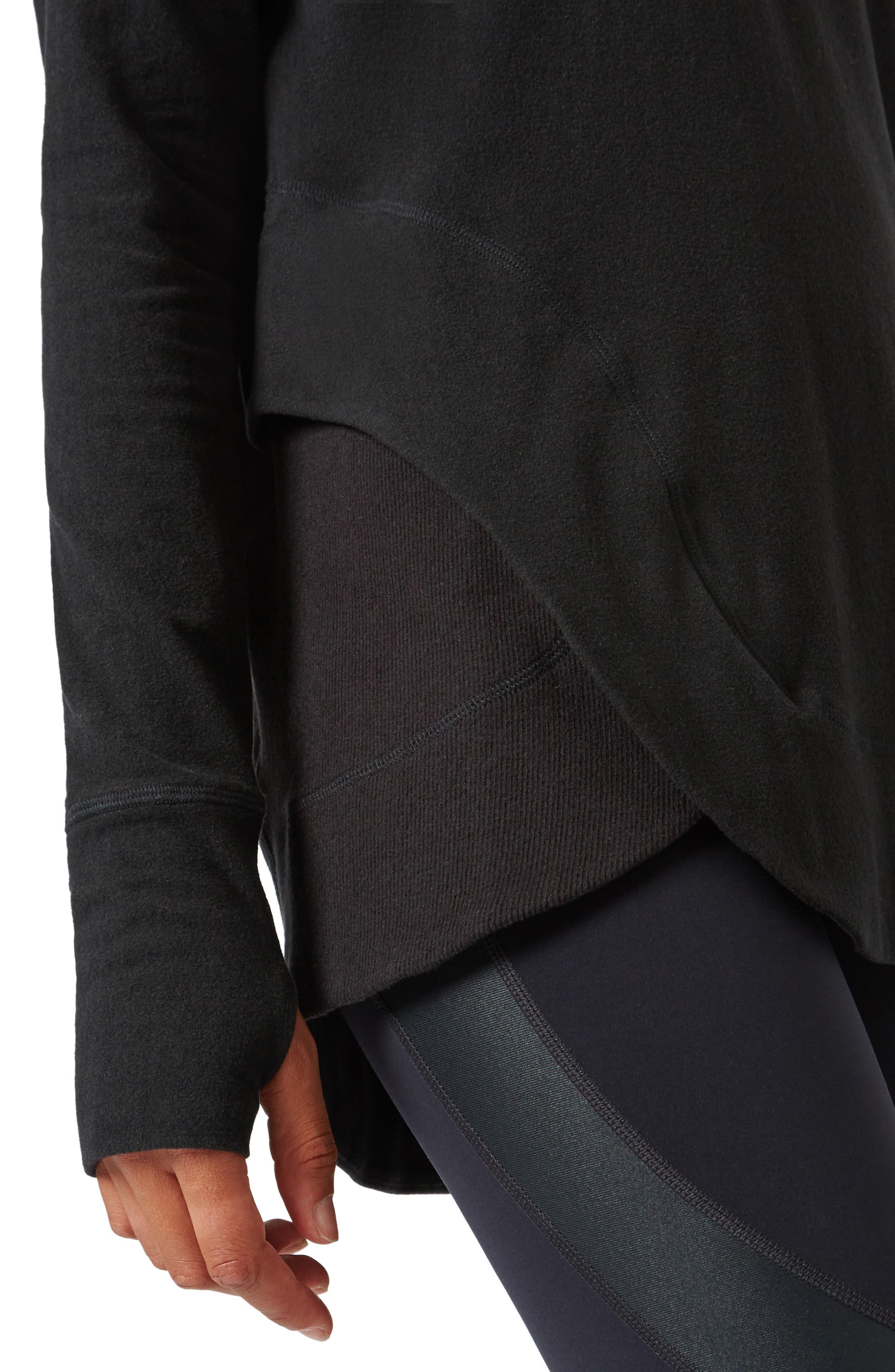 SWEATY BETTY, Invigorate Luxe Hoodie, Alternate thumbnail 5, color, BLACK