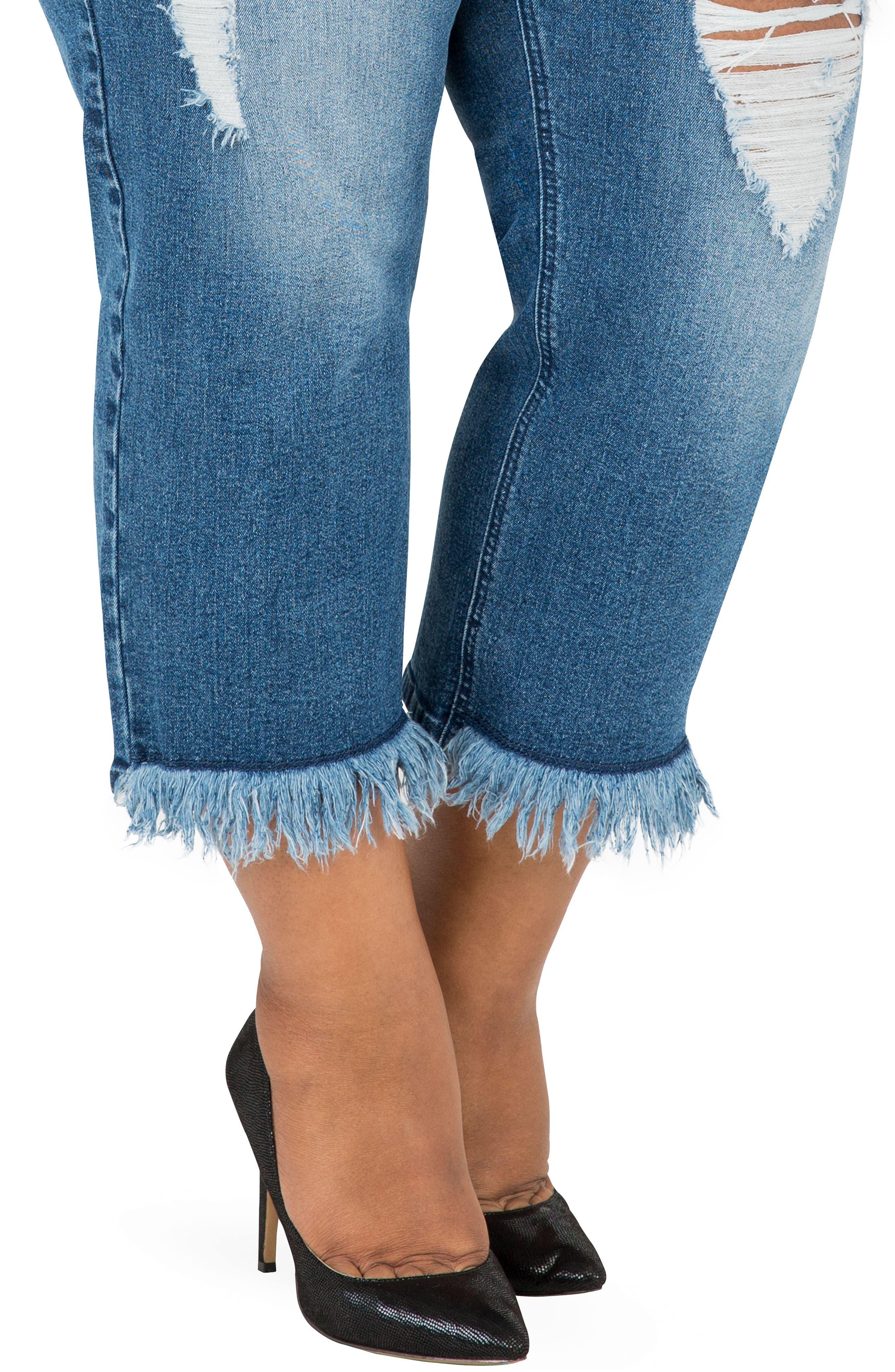 POETIC JUSTICE, Verla Frayed Hem Crop Boyfriend Jeans, Alternate thumbnail 4, color, LIGHT BLUE