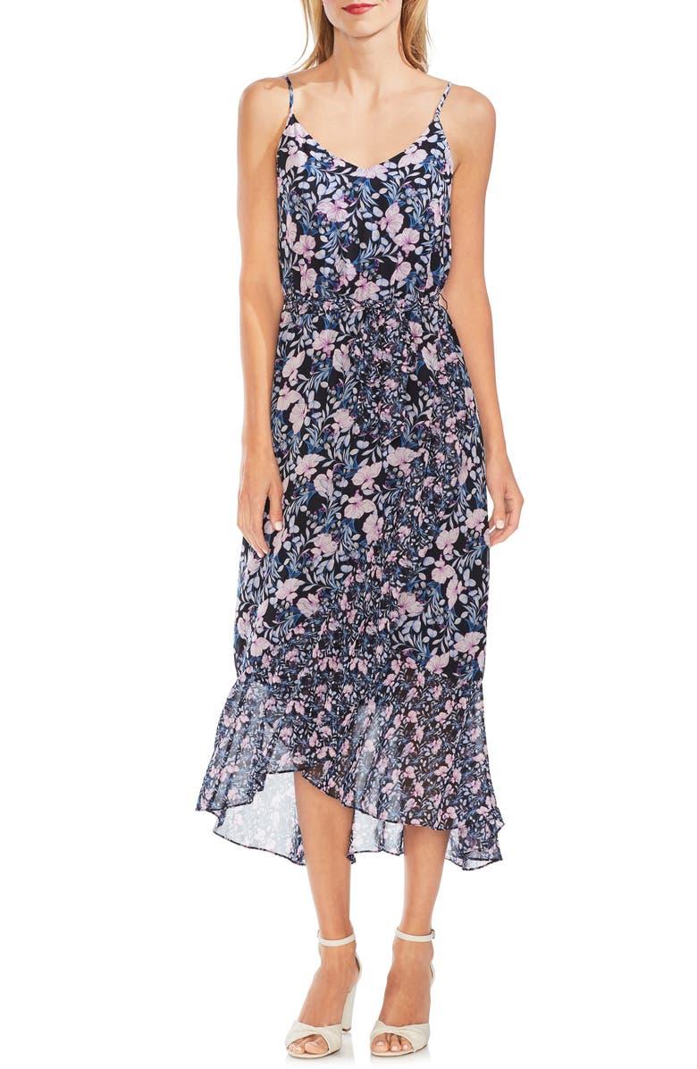 Vince Camuto Dresses Sleeveless Floral Ruffle Midi Dress