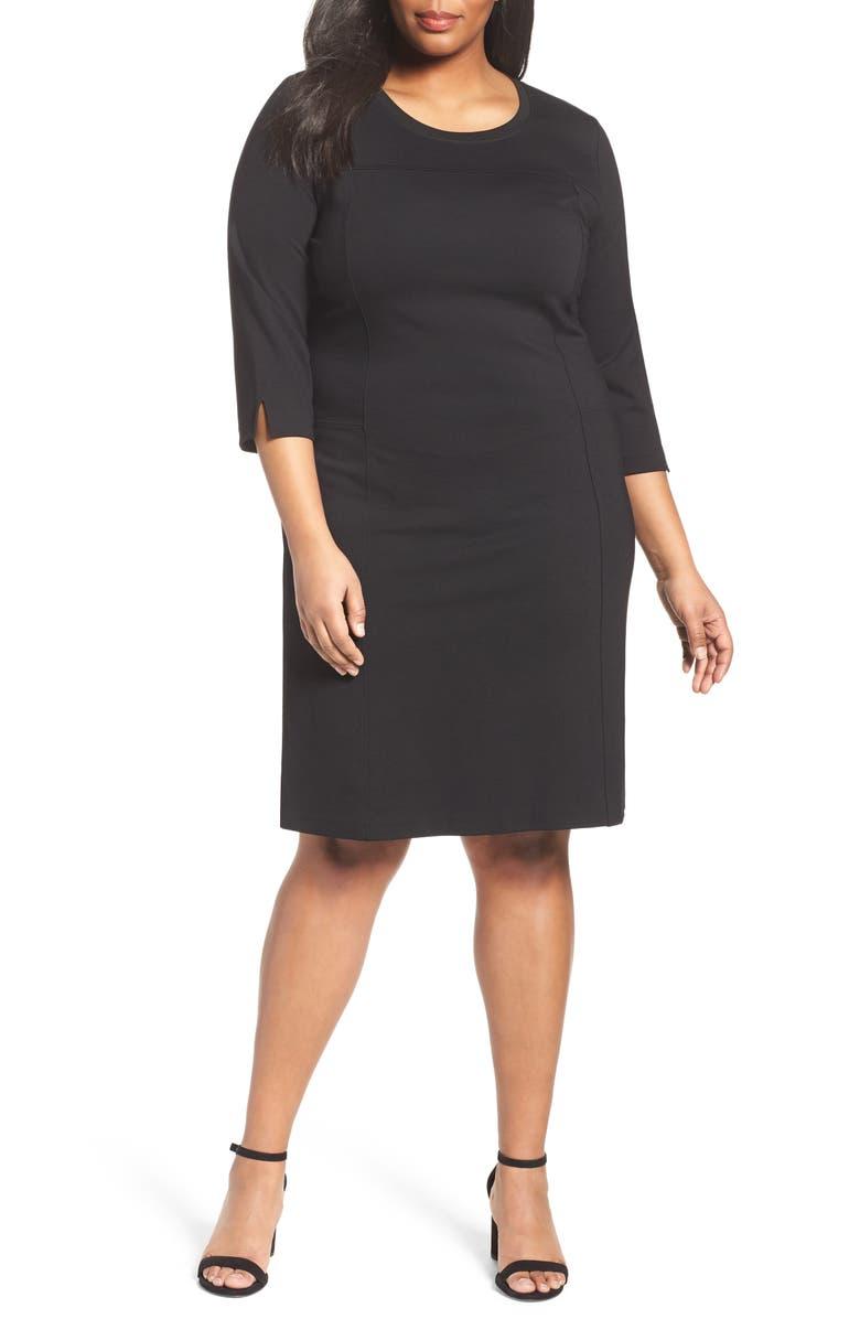 Sejour Ponte Knit Shift Dress (Plus Size) | Nordstrom
