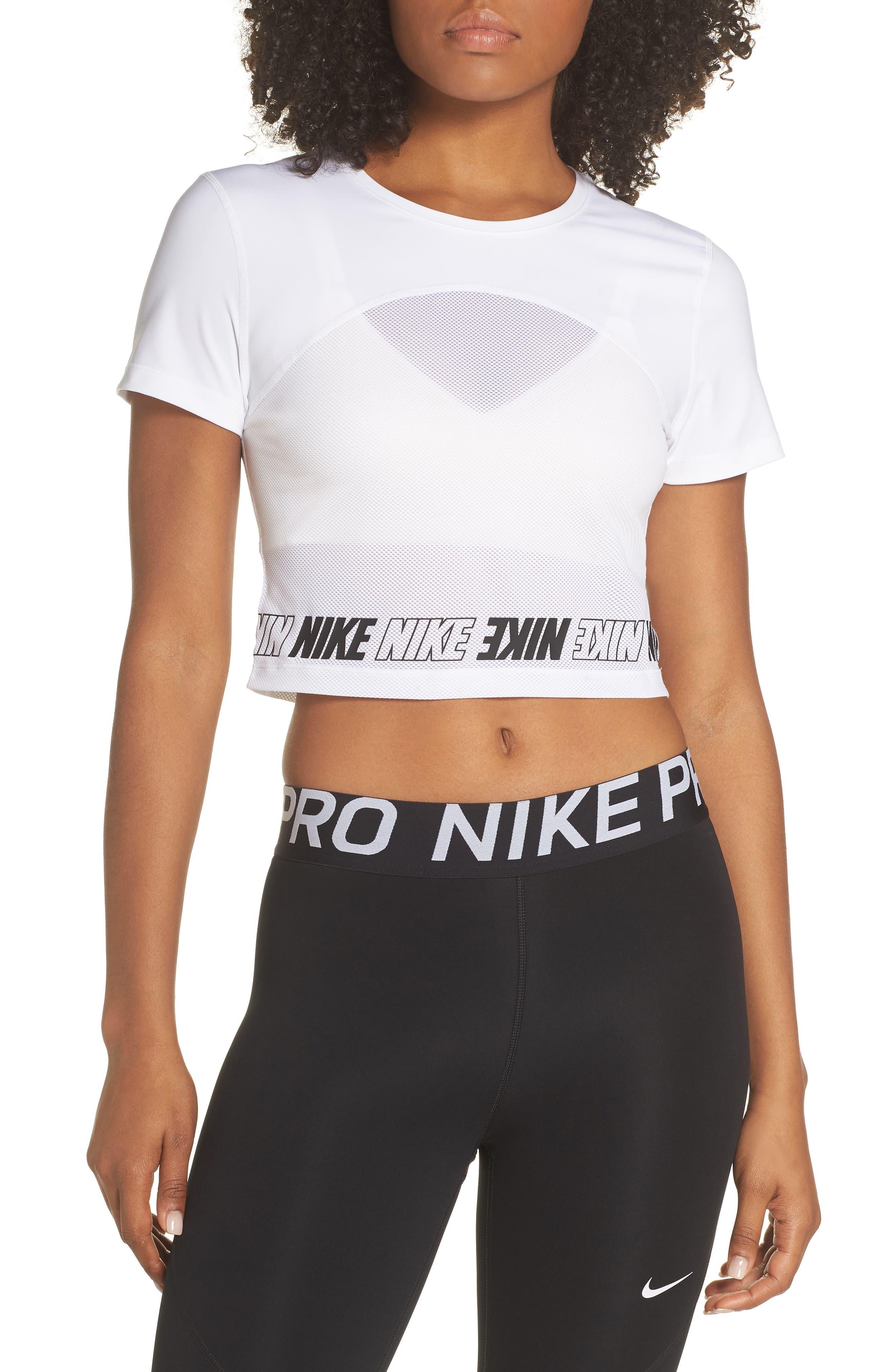NIKE, Dry Pro Crop Top, Main thumbnail 1, color, WHITE/ WHITE/ BLACK