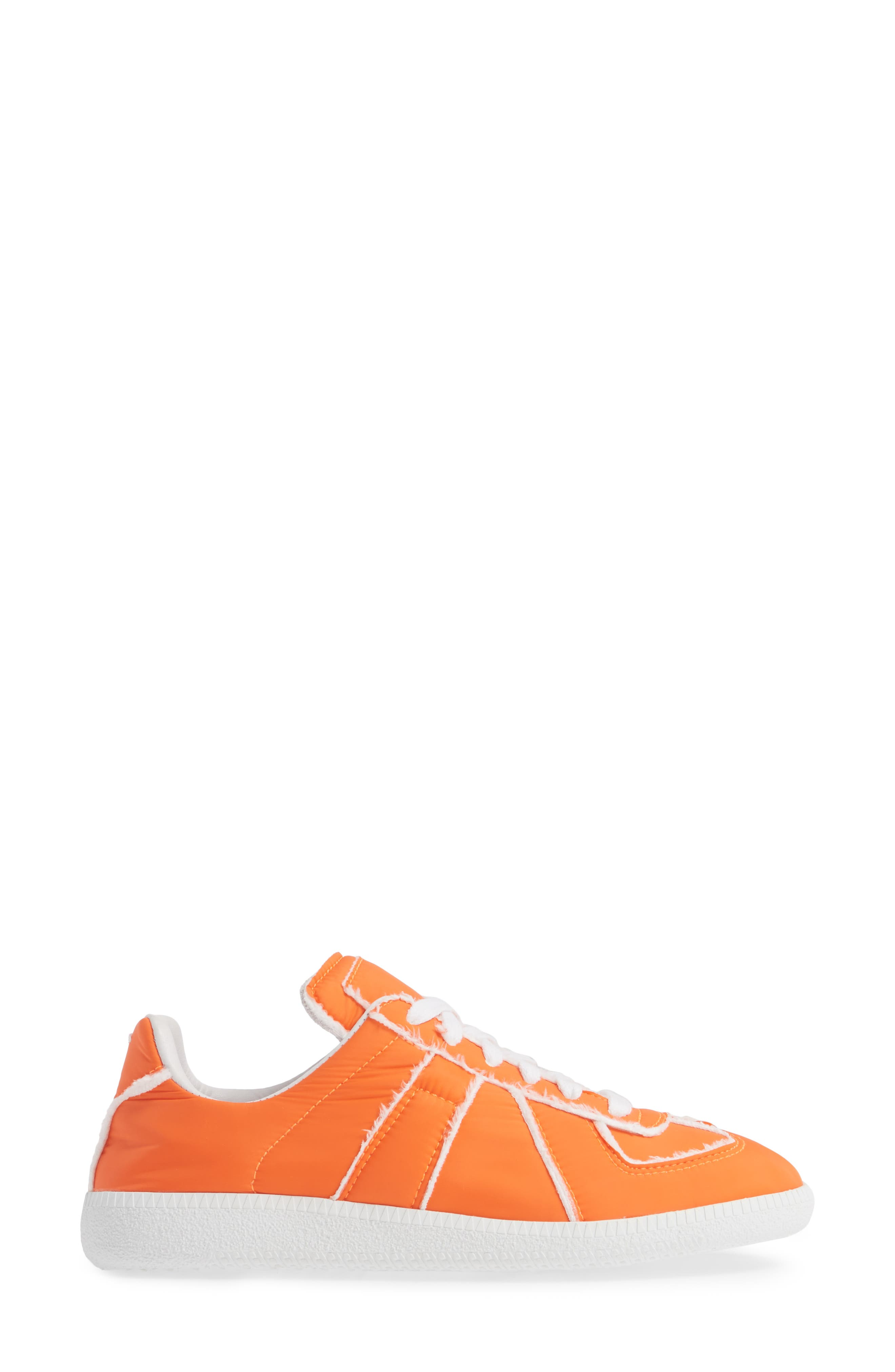 MAISON MARGIELA, Replica Lace-Up Sneaker, Alternate thumbnail 3, color, VERMILLION ORANGE