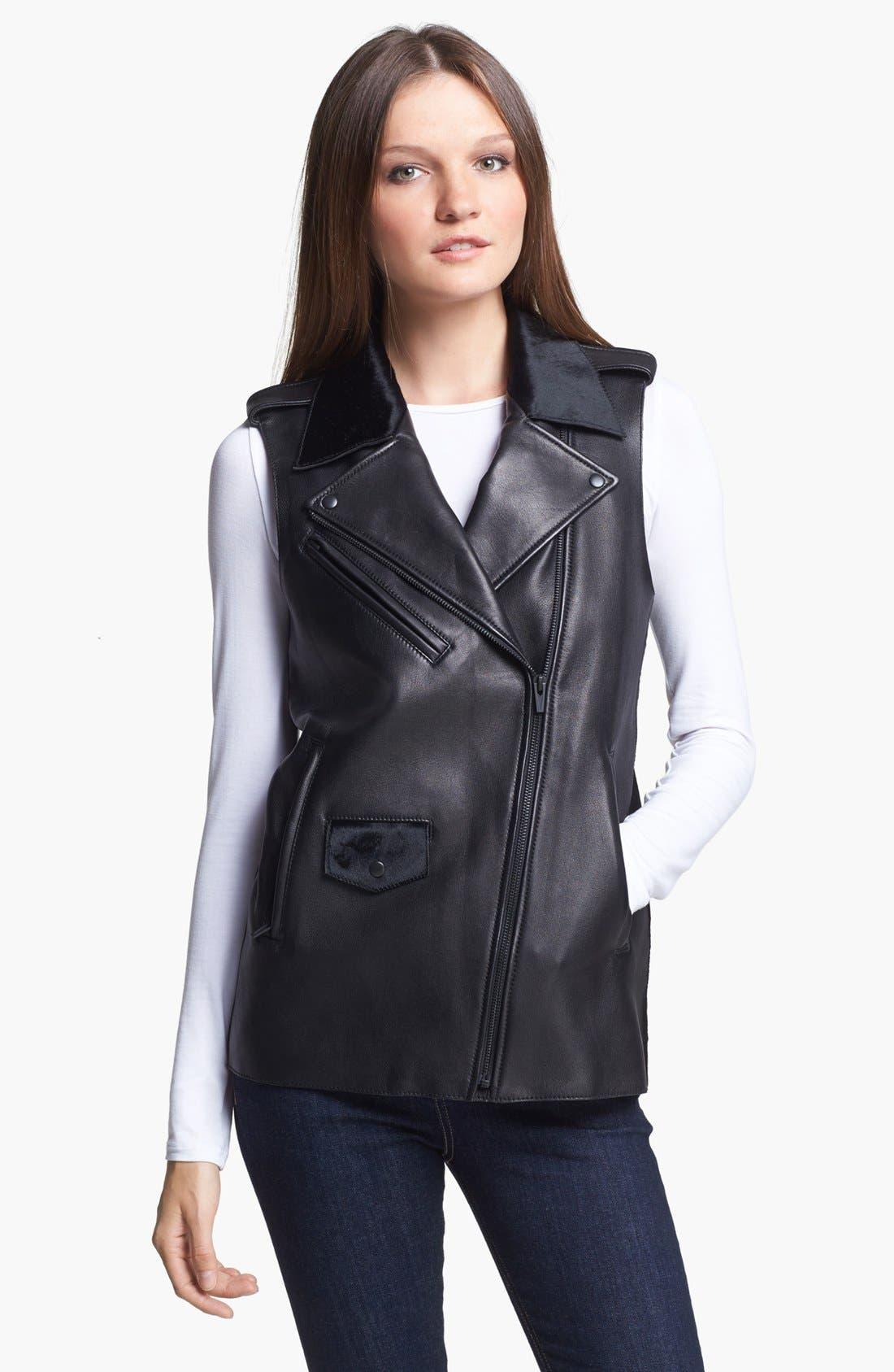 VEDA, Genuine Calf Hair & Leather Vest, Alternate thumbnail 3, color, 001