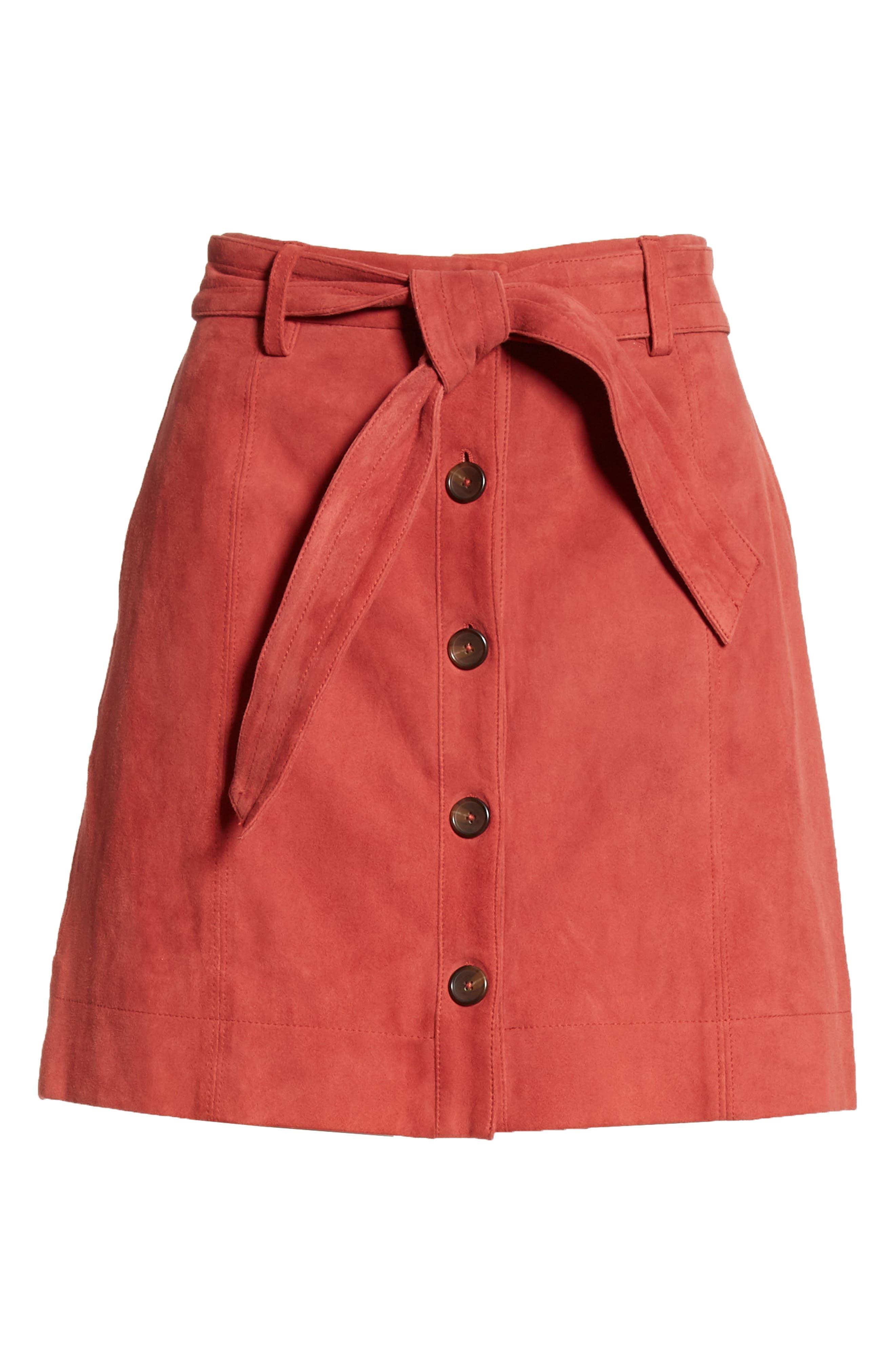 JOIE, Neida Suede Miniskirt, Alternate thumbnail 6, color, DESERT SPICE