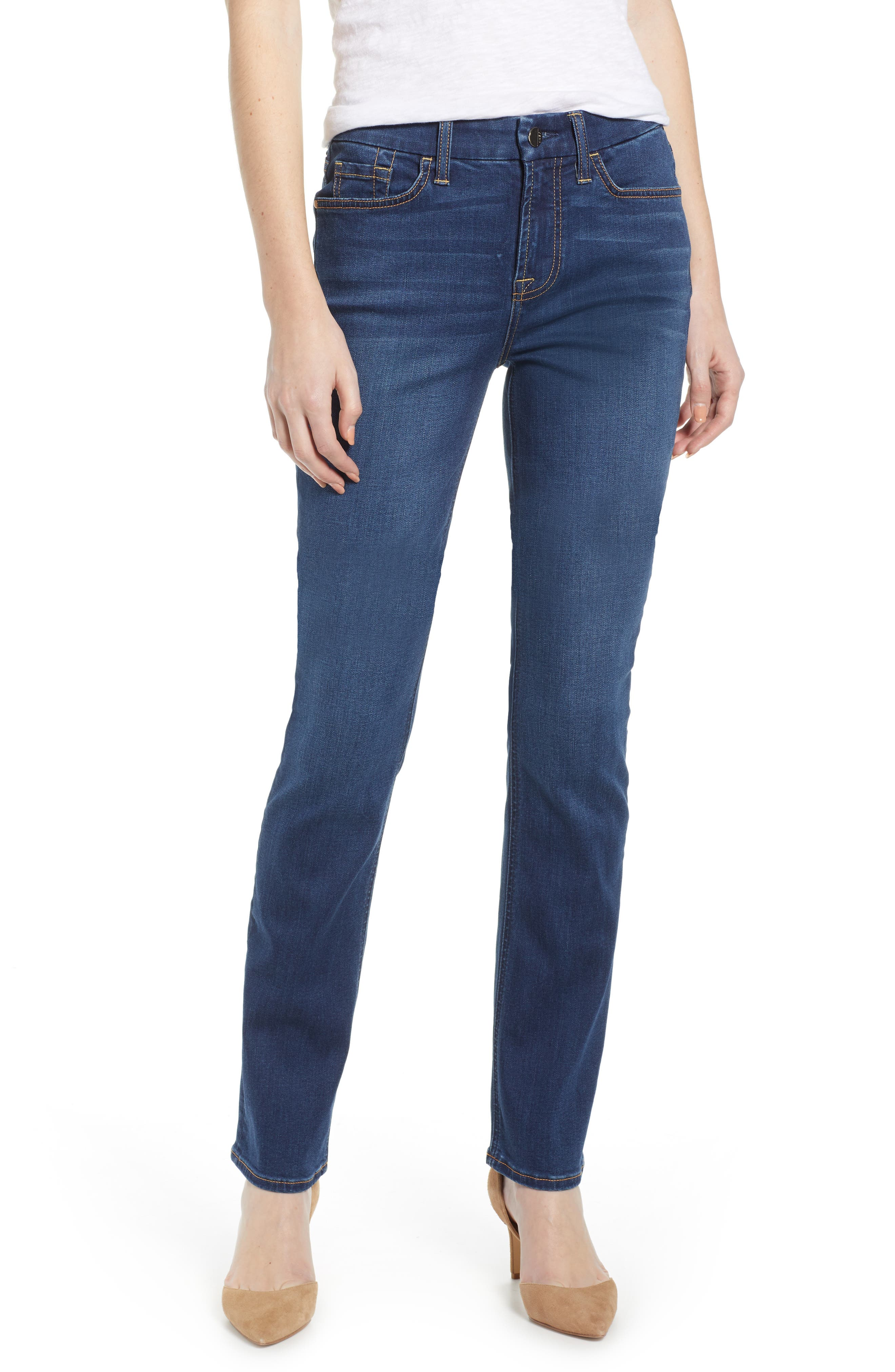 JEN7 BY 7 FOR ALL MANKIND Slim Straight Leg Jeans, Main, color, 404