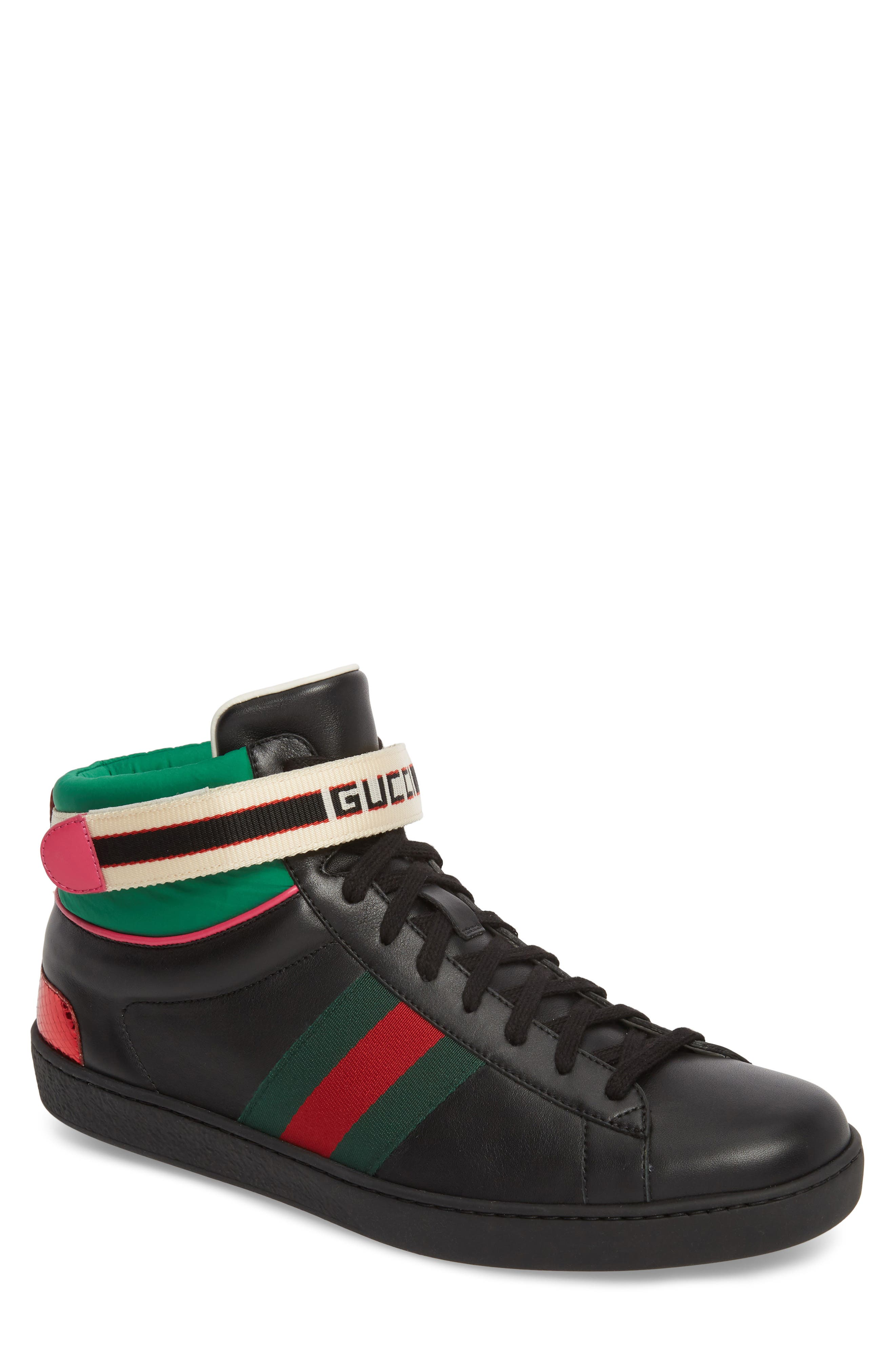GUCCI New Ace Stripe High Top Sneaker, Main, color, BLACK