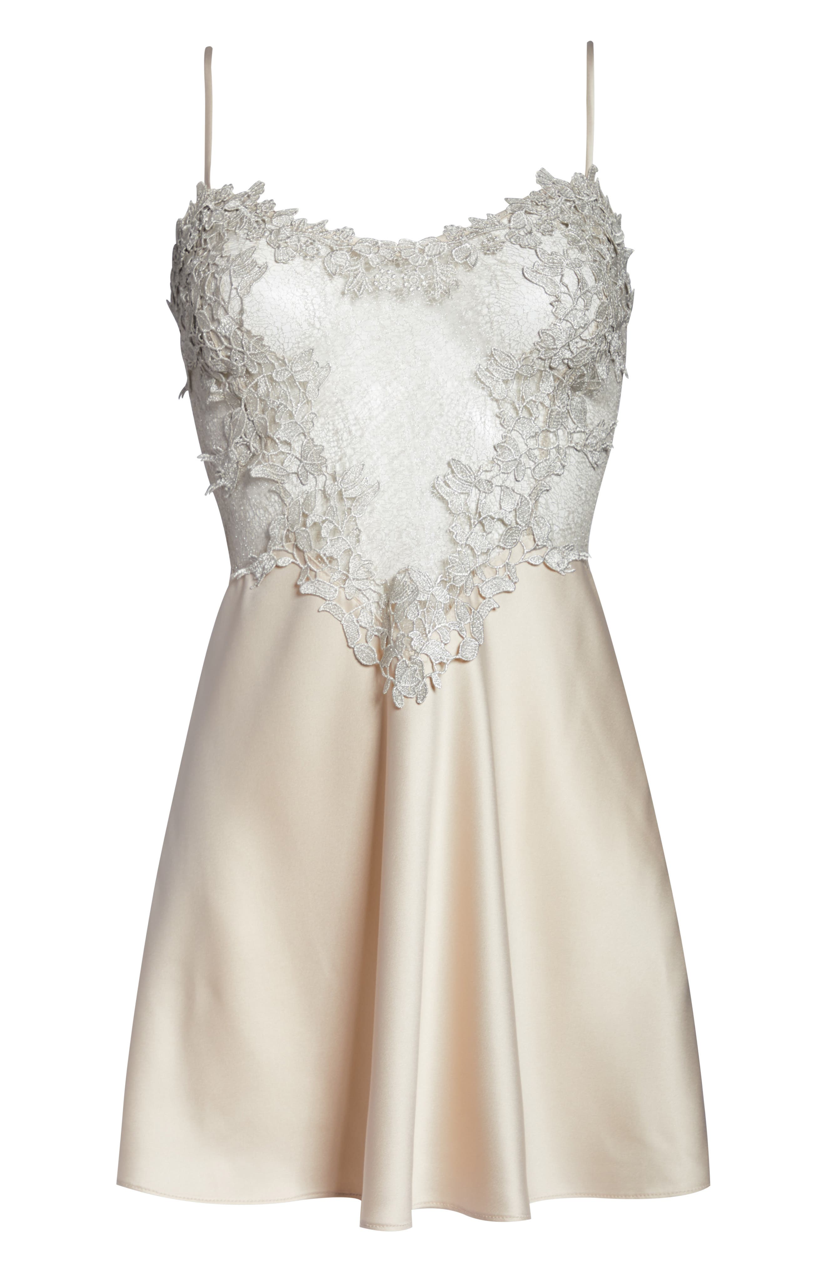 FLORA NIKROOZ, Showstopper Chemise, Alternate thumbnail 6, color, CHAMPAGNE
