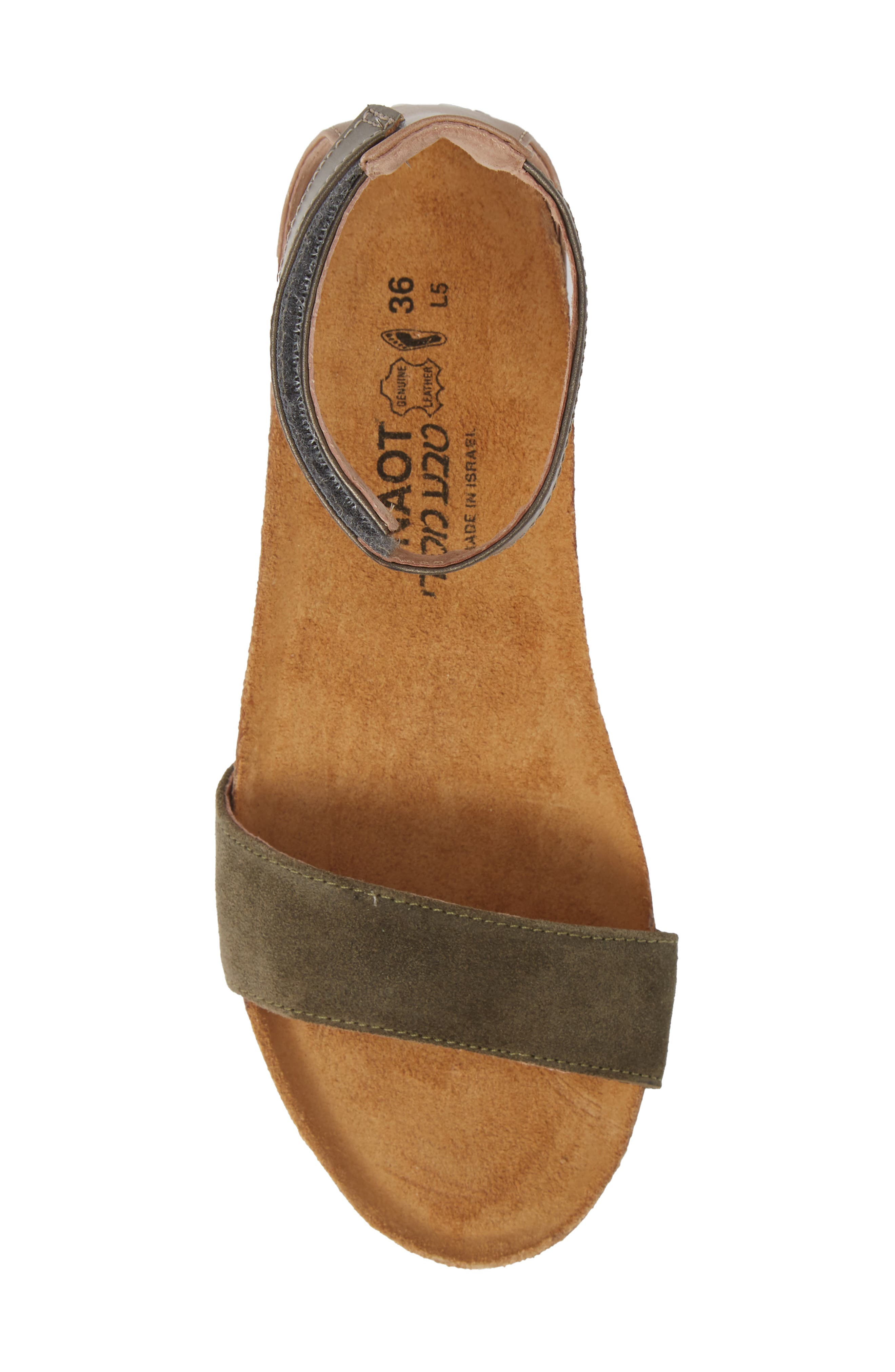 NAOT, 'Pixie' Sandal, Alternate thumbnail 5, color, OLIVE SUEDE/ PEWTER LEATHER