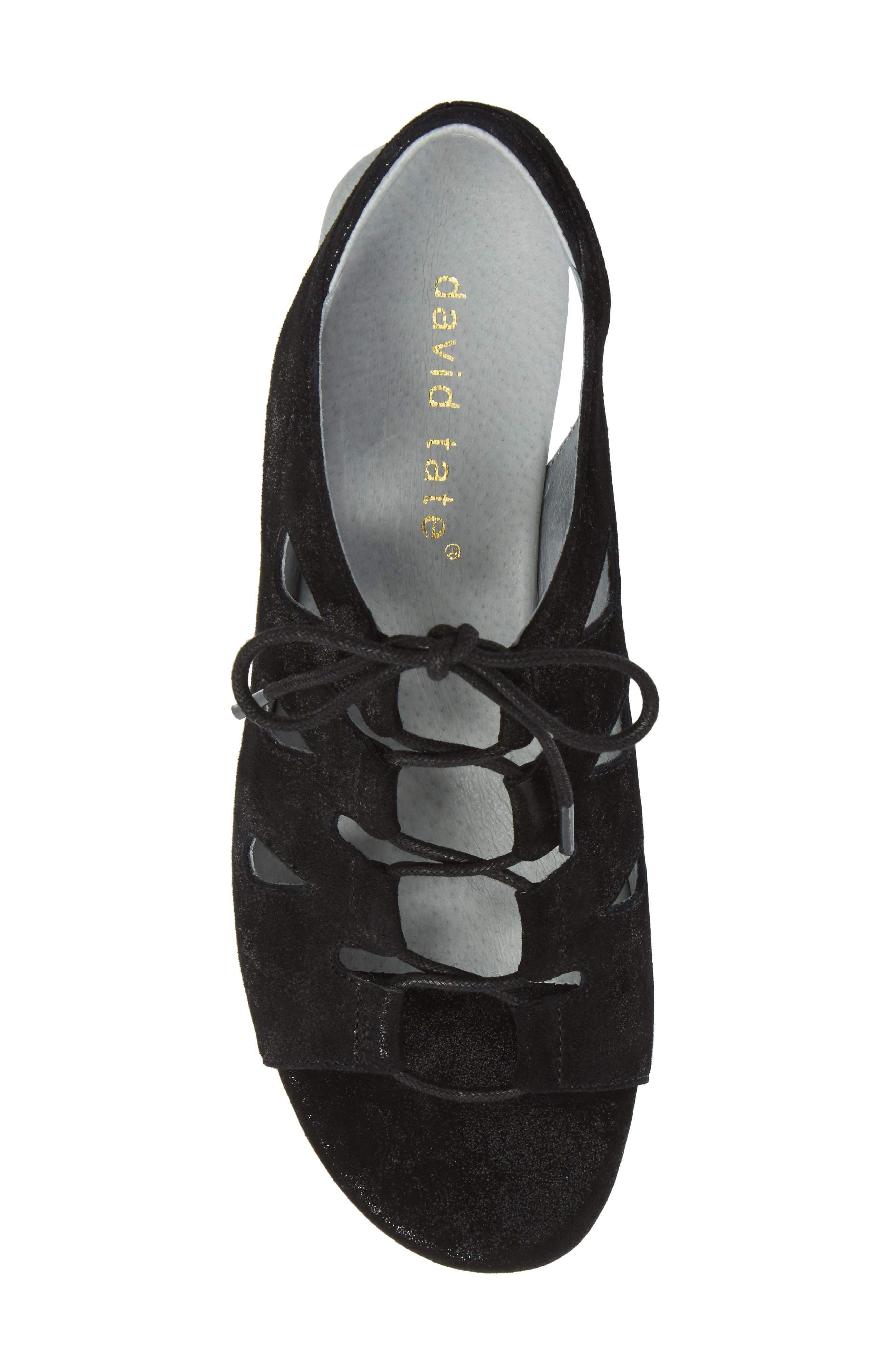 DAVID TATE, Rich Wedge Sandal, Alternate thumbnail 5, color, BLACK SUEDE