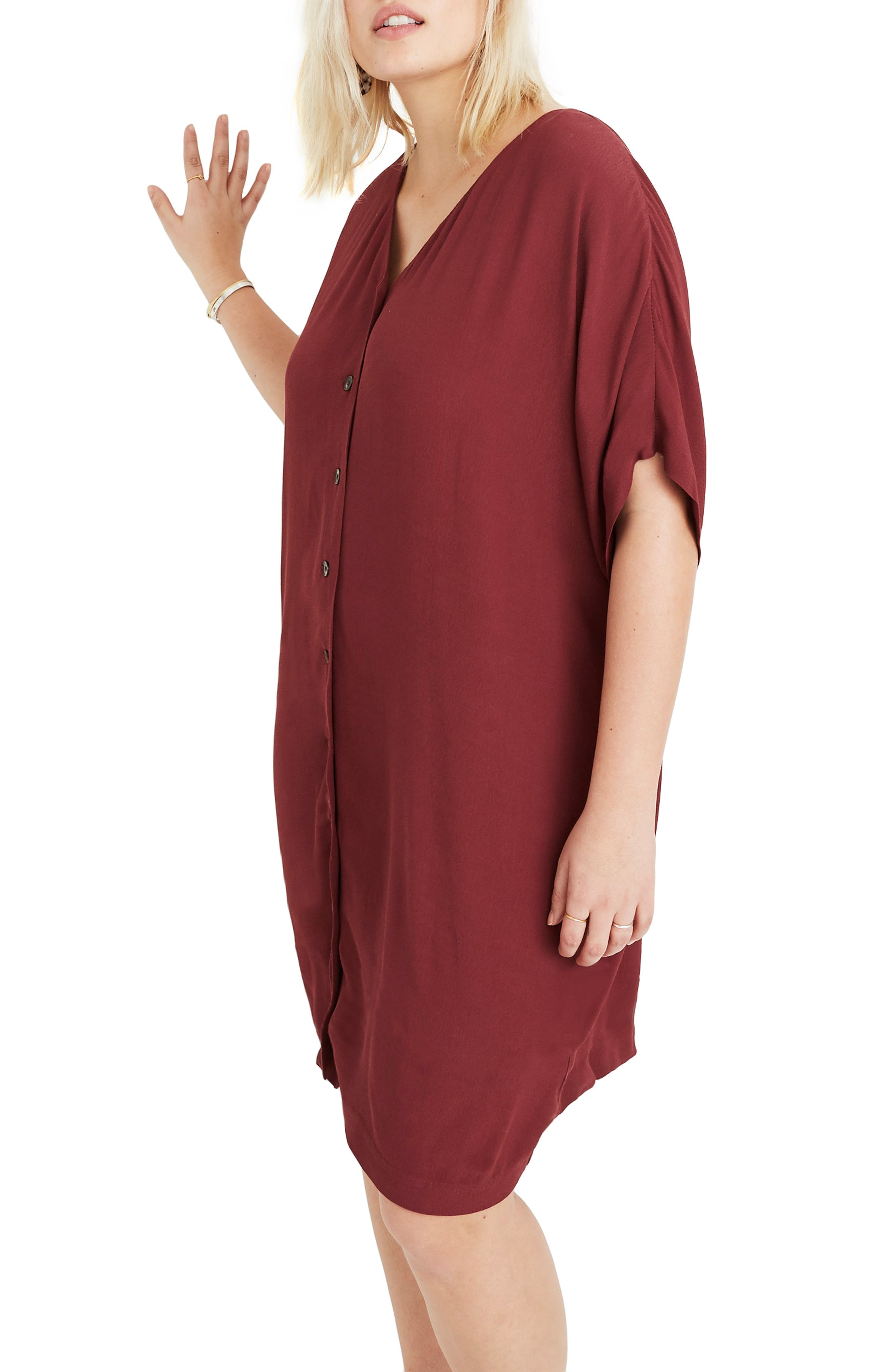 MADEWELL, Button Front Easy Dress, Alternate thumbnail 2, color, RICH BURGUNDY