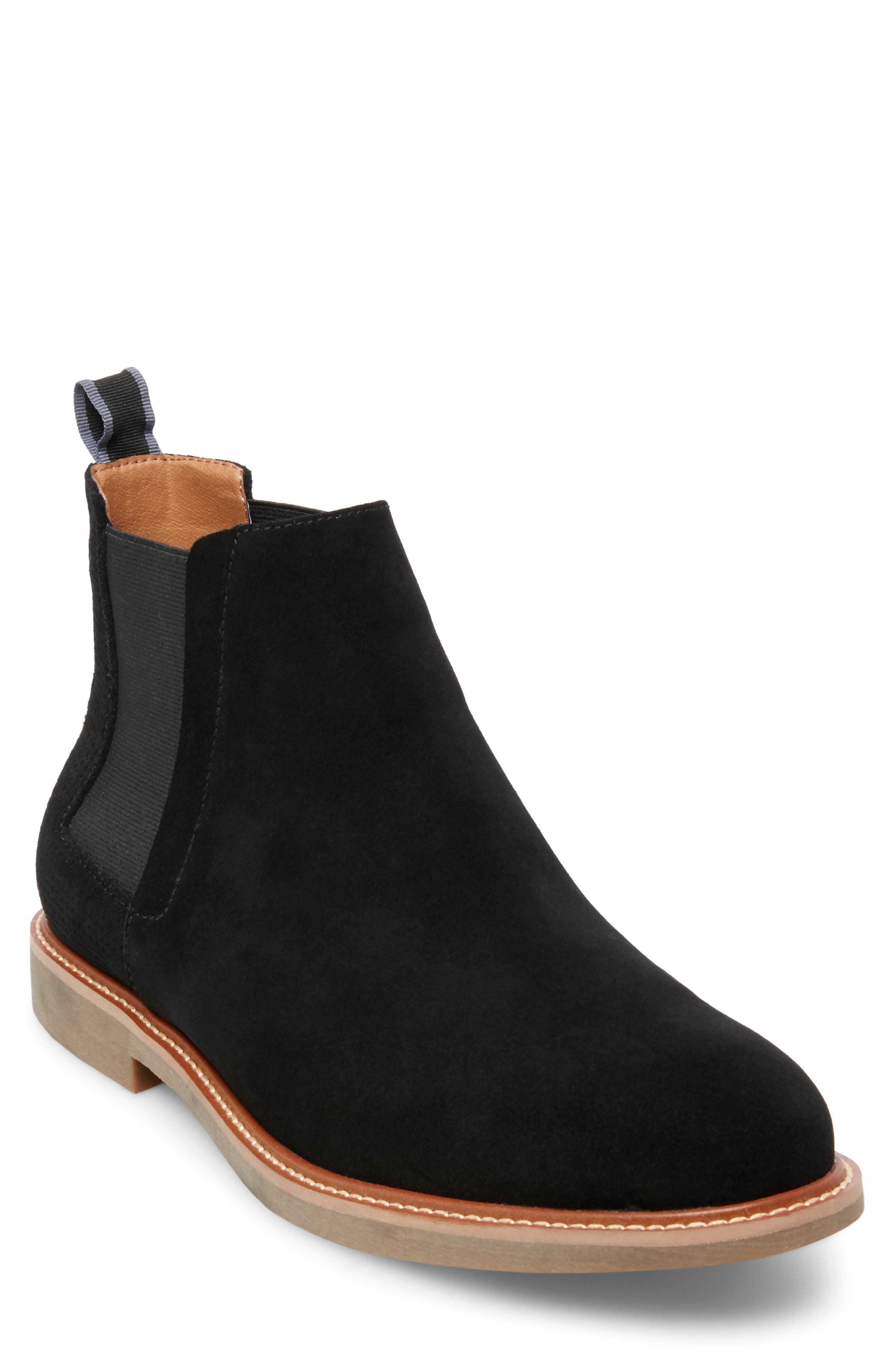 STEVE MADDEN, Highlyte Textured Chelsea Boot, Main thumbnail 1, color, BLACK SUEDE